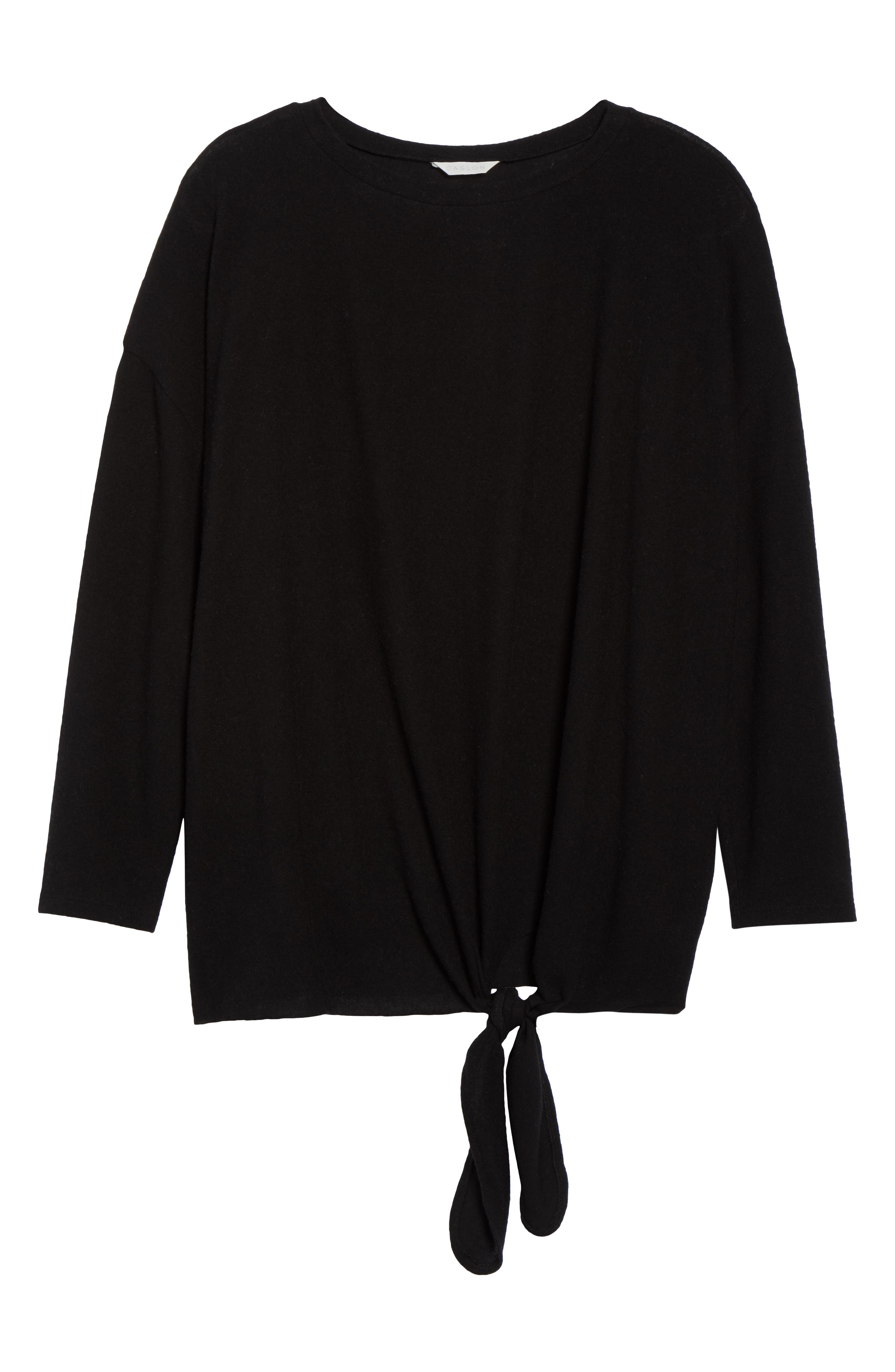 Fuzzy Tie Front Sweatshirt,                             Alternate thumbnail 6, color,                             BLACK