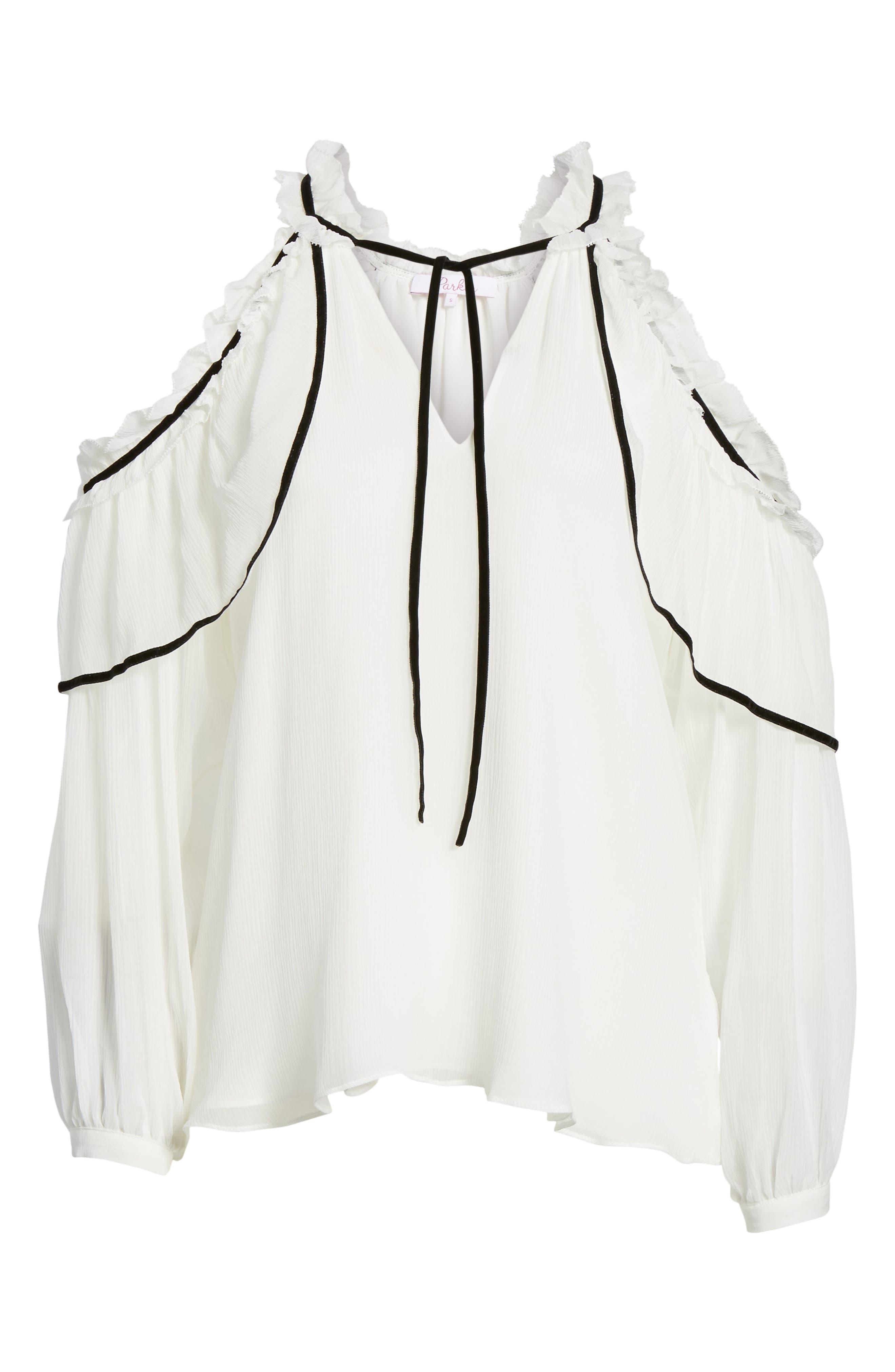 Ventura Cold Shoulder Silk Blouse,                             Alternate thumbnail 6, color,
