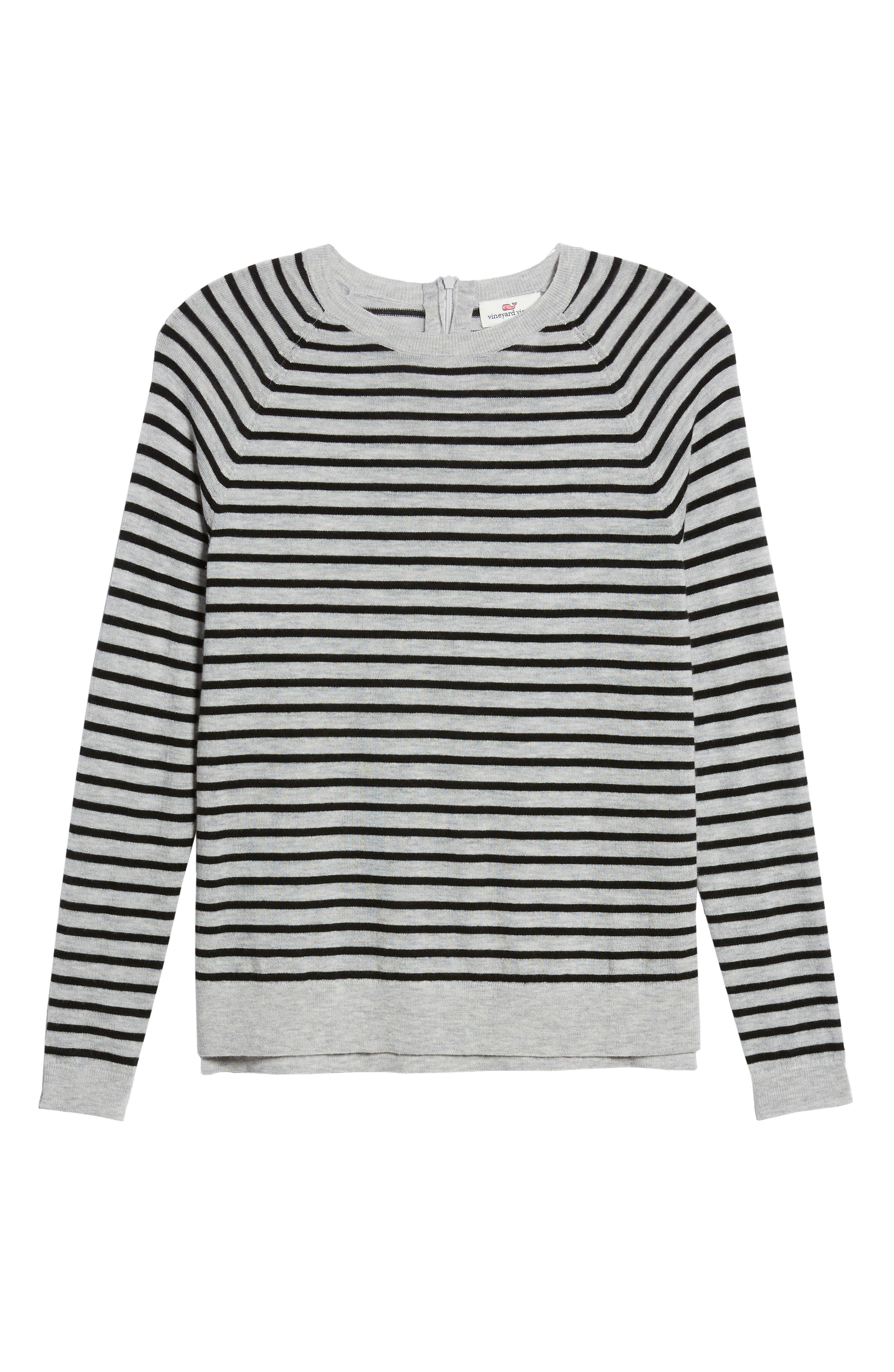 Stripe Zip Back Crewneck Sweater,                             Alternate thumbnail 6, color,                             059