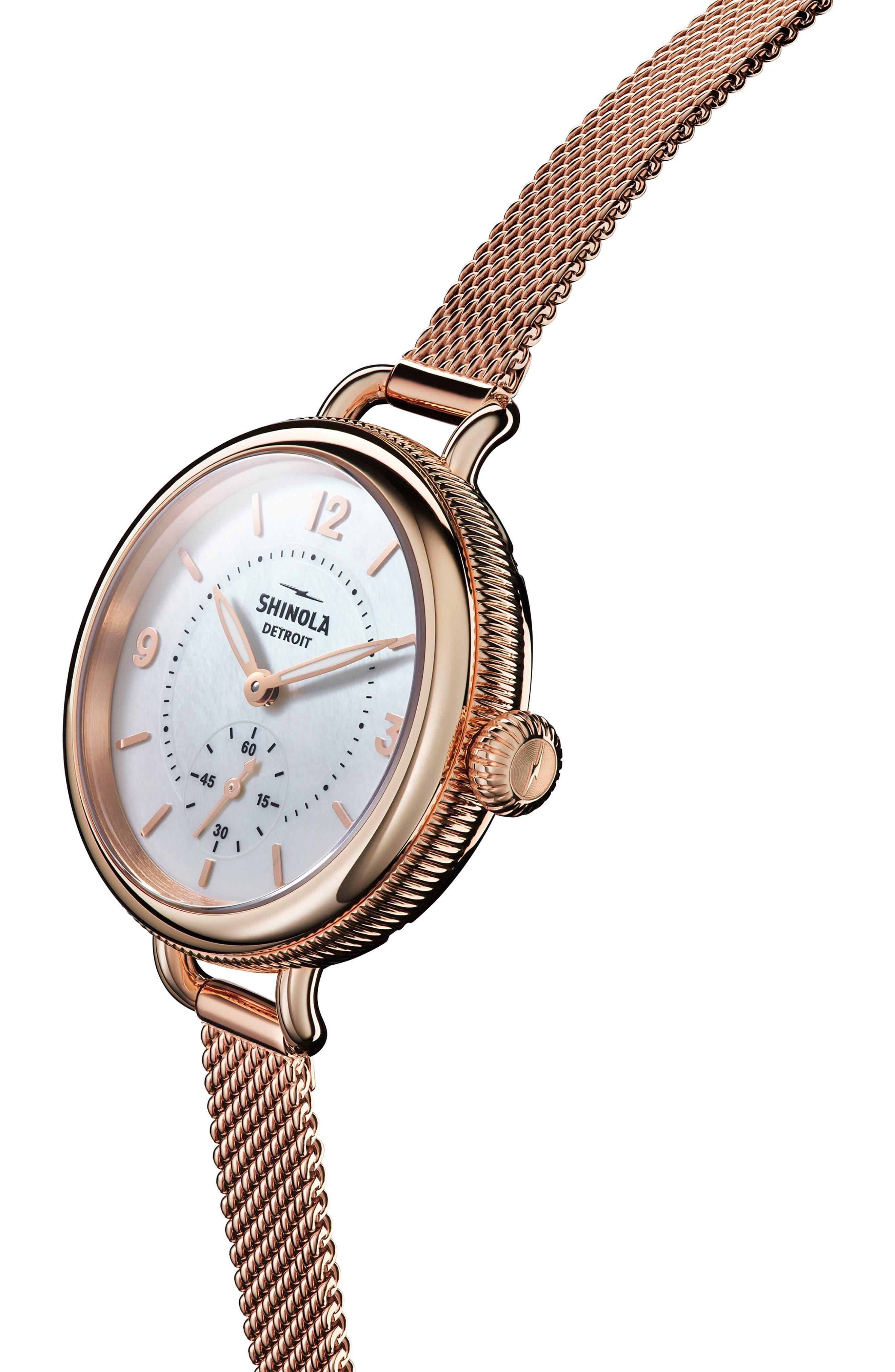 Birdy Mesh Bracelet Watch, 34mm,                             Alternate thumbnail 5, color,                             ROSE GOLD/ WHITE/ ROSE GOLD