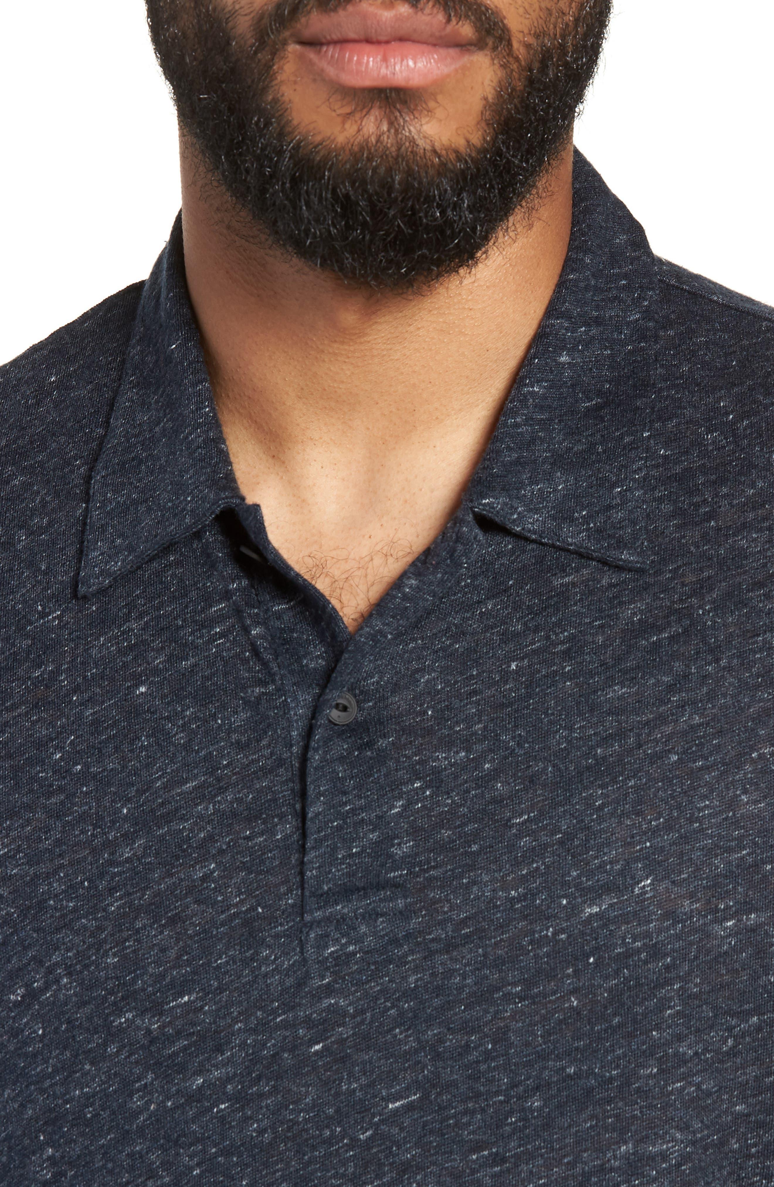Owen Slim Fit Linen Polo Shirt,                             Alternate thumbnail 4, color,                             NAVY
