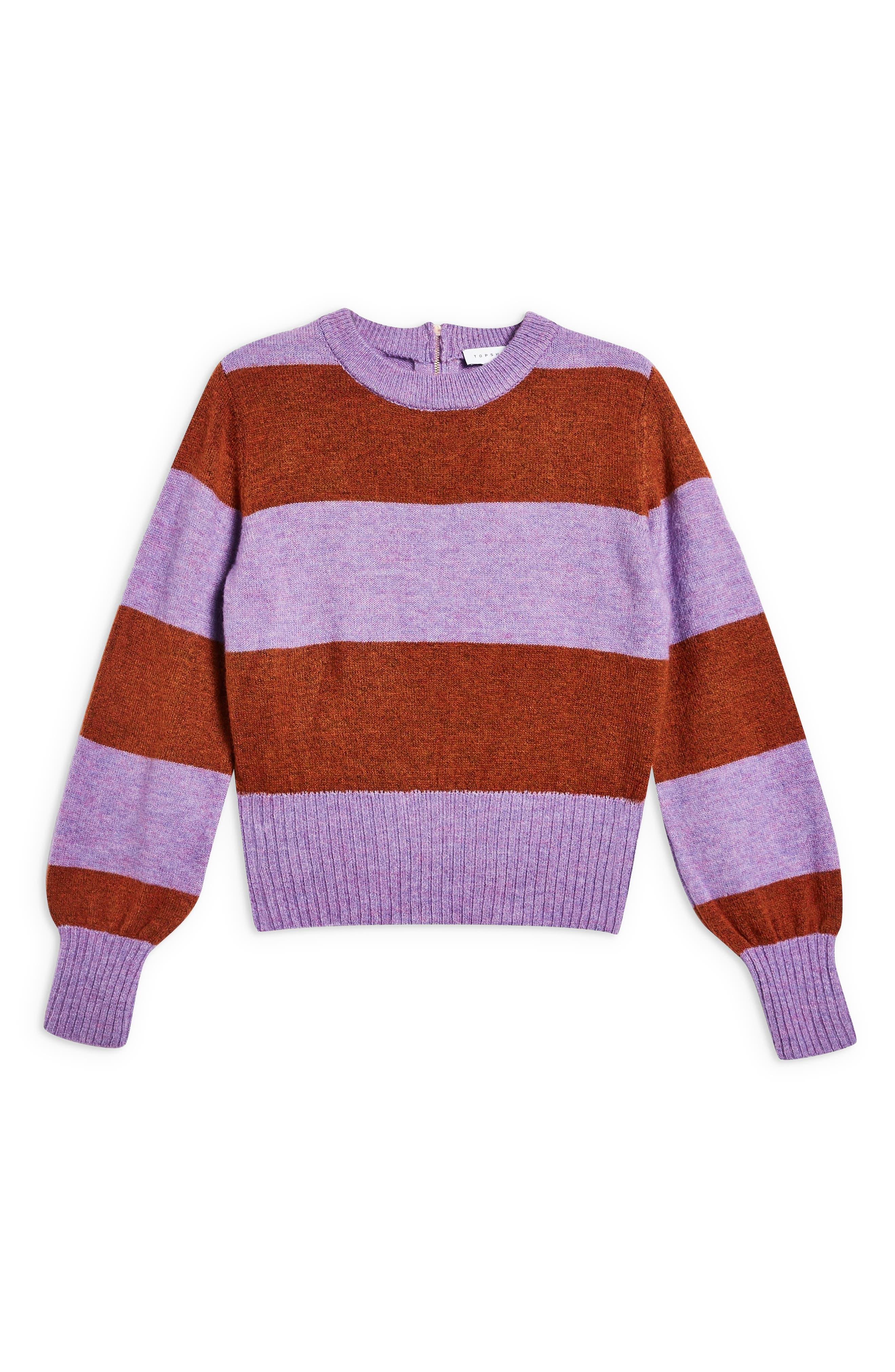 Bold Stripe Crewneck Sweater,                             Alternate thumbnail 3, color,                             PURPLE MULTI