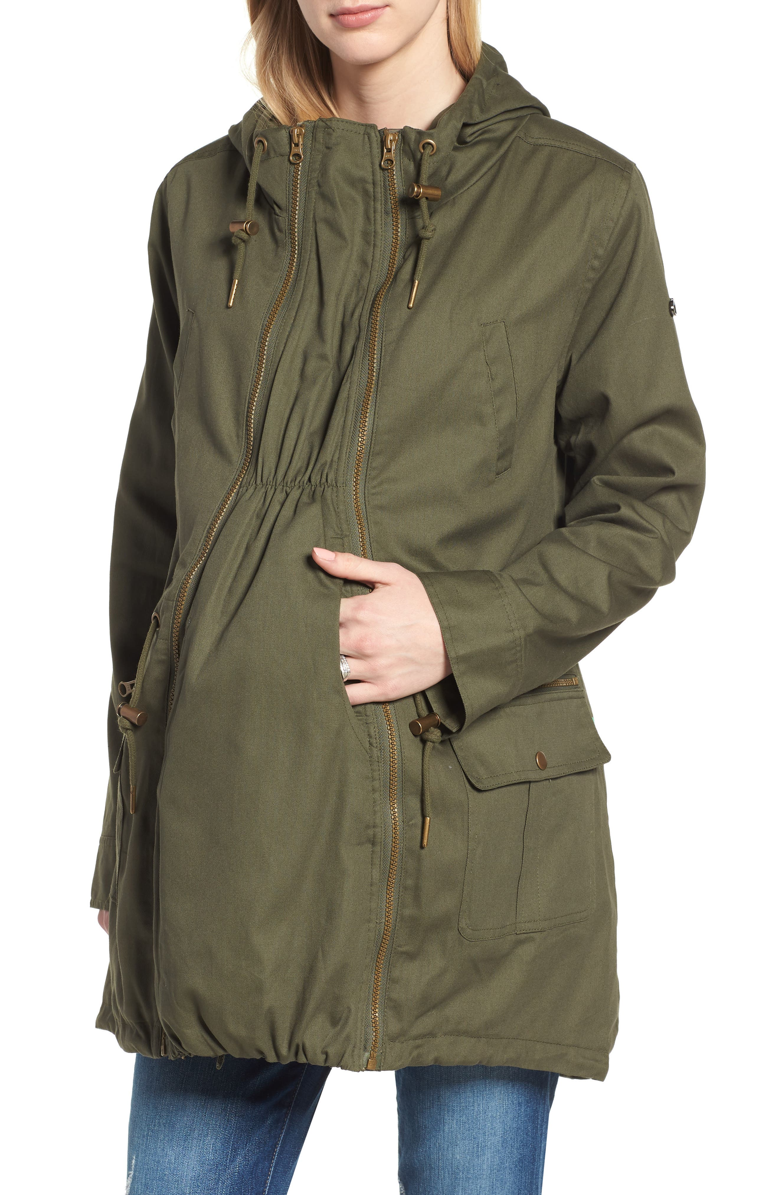 Convertible Military 3-in-1 Maternity/Nursing Jacket,                             Main thumbnail 1, color,                             KHAKI GREEN