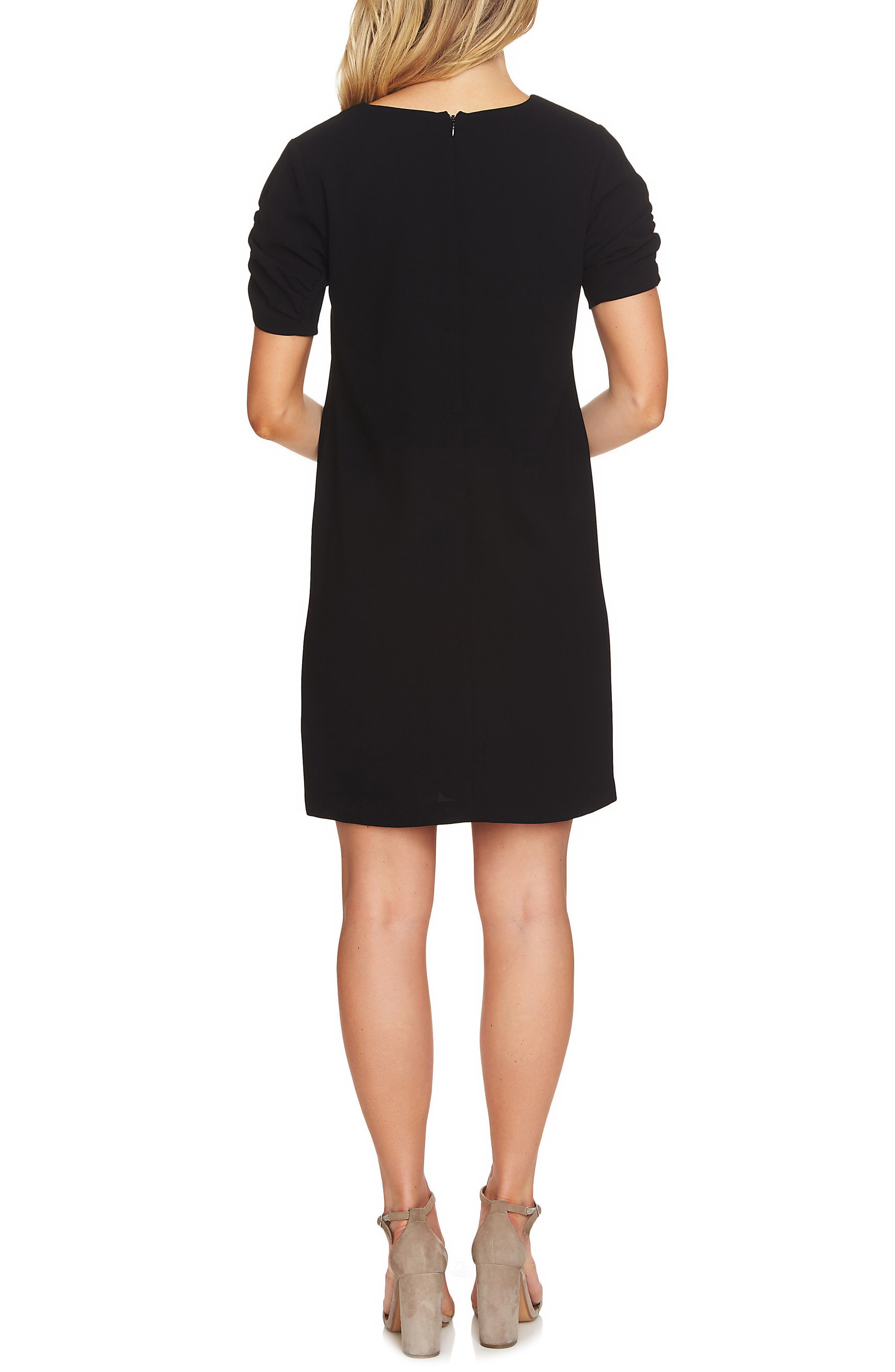 Puff Sleeve Shift Dress,                             Alternate thumbnail 2, color,                             001