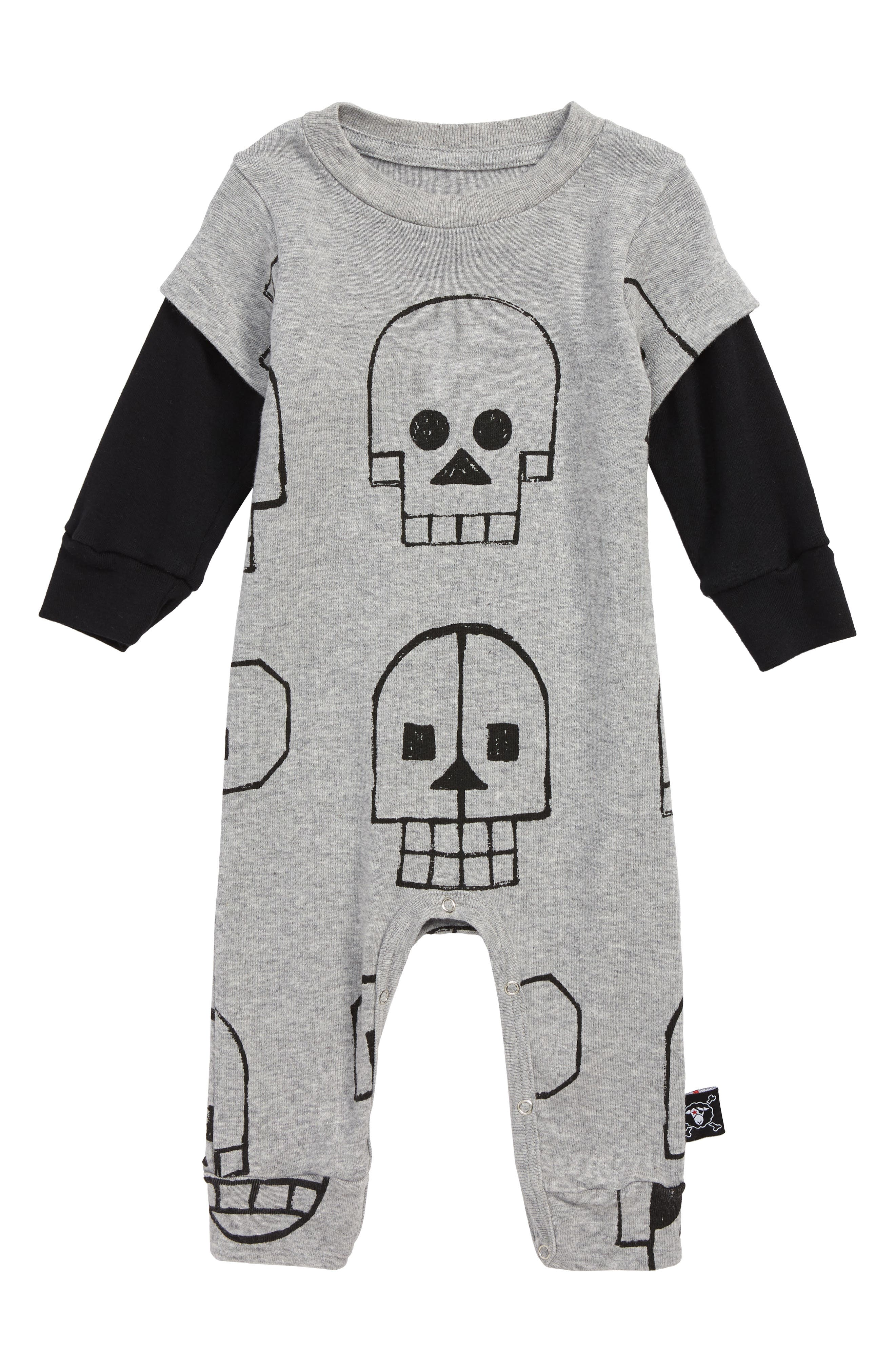 Skull Robot Romper,                             Main thumbnail 1, color,                             HEATHER GREY