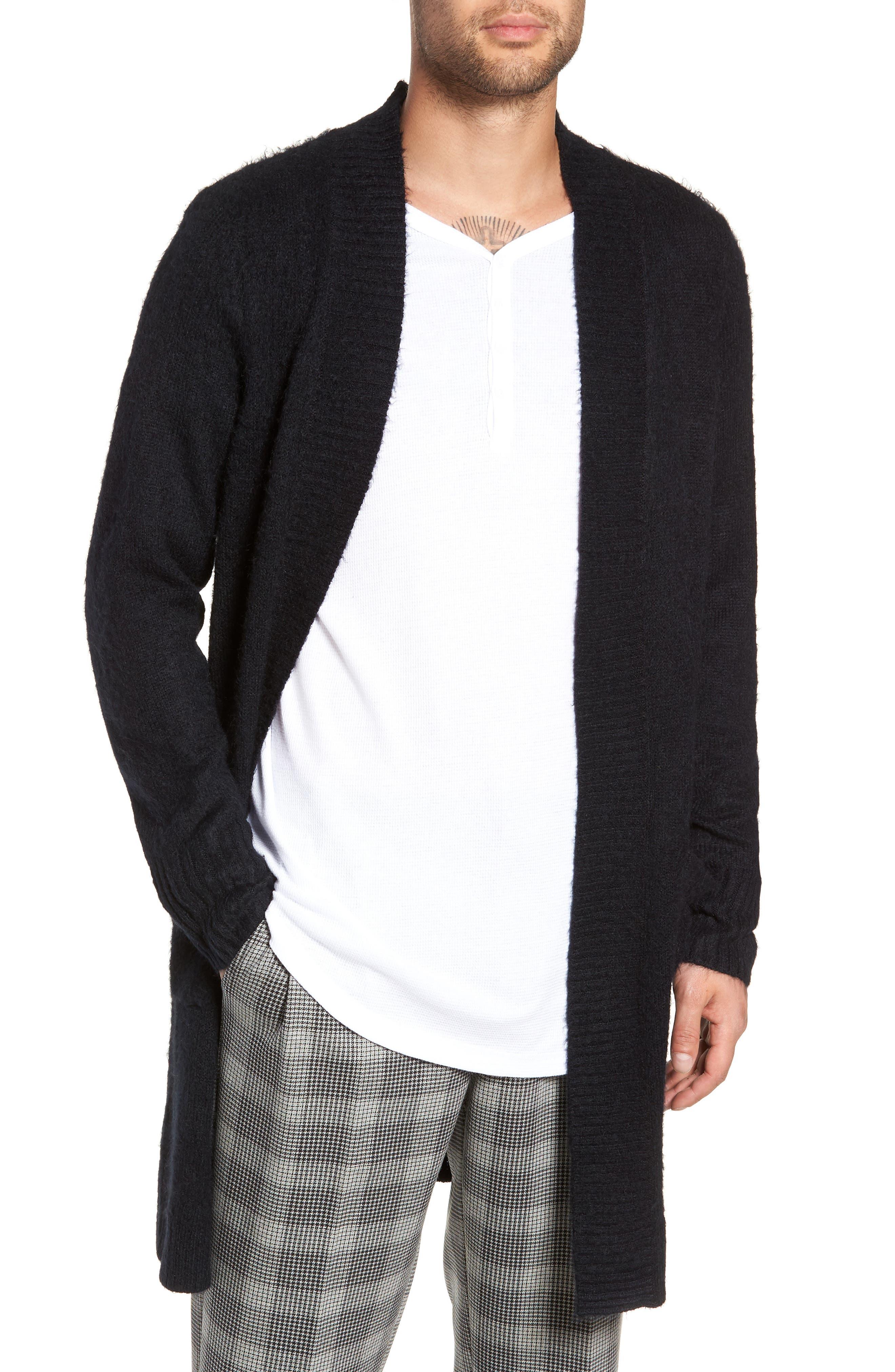 Long Cardigan,                         Main,                         color, BLACK ROCK