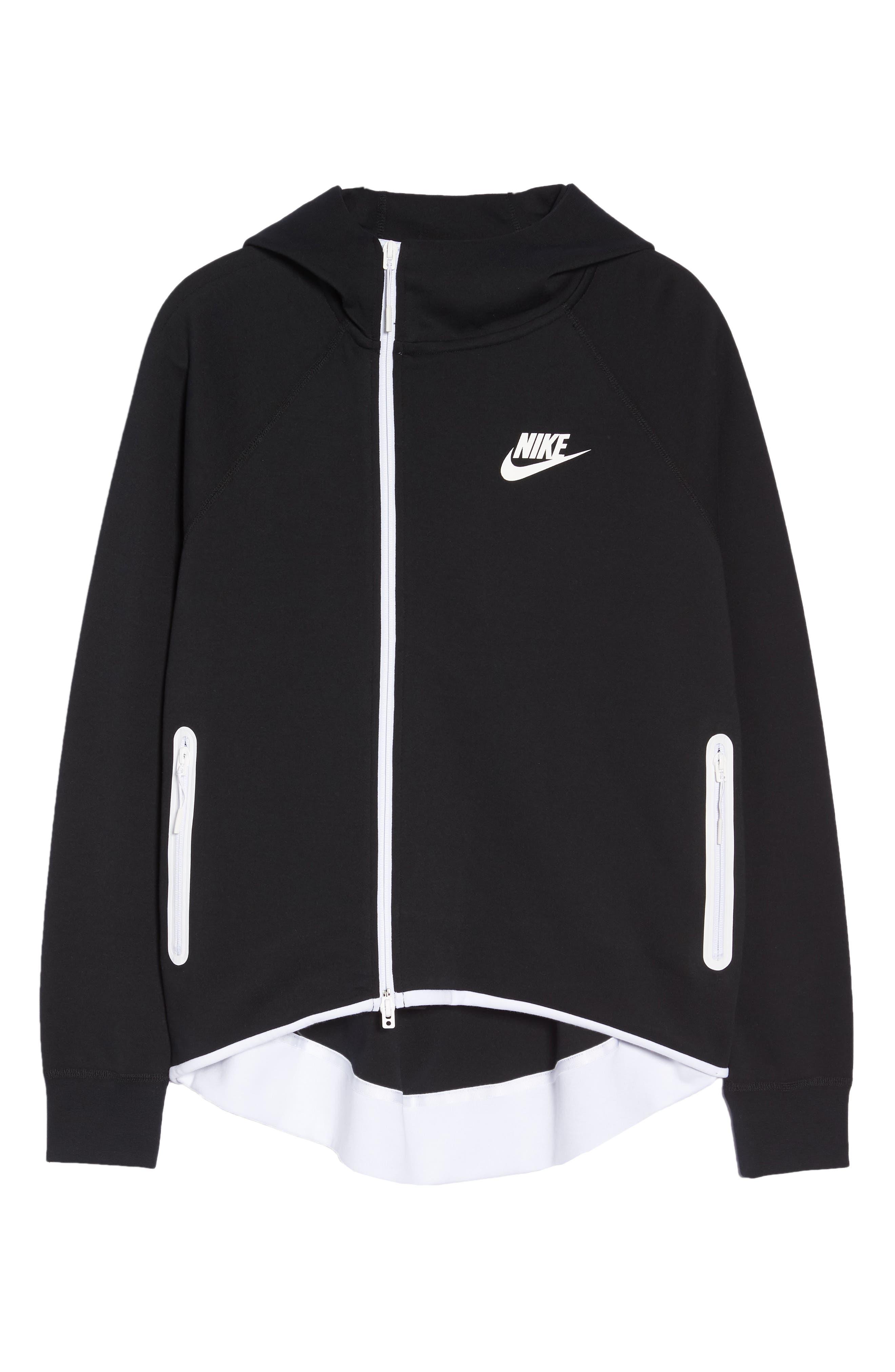 Sportswear Tech Fleece Cape Jacket,                             Alternate thumbnail 7, color,                             BLACK/ WHITE