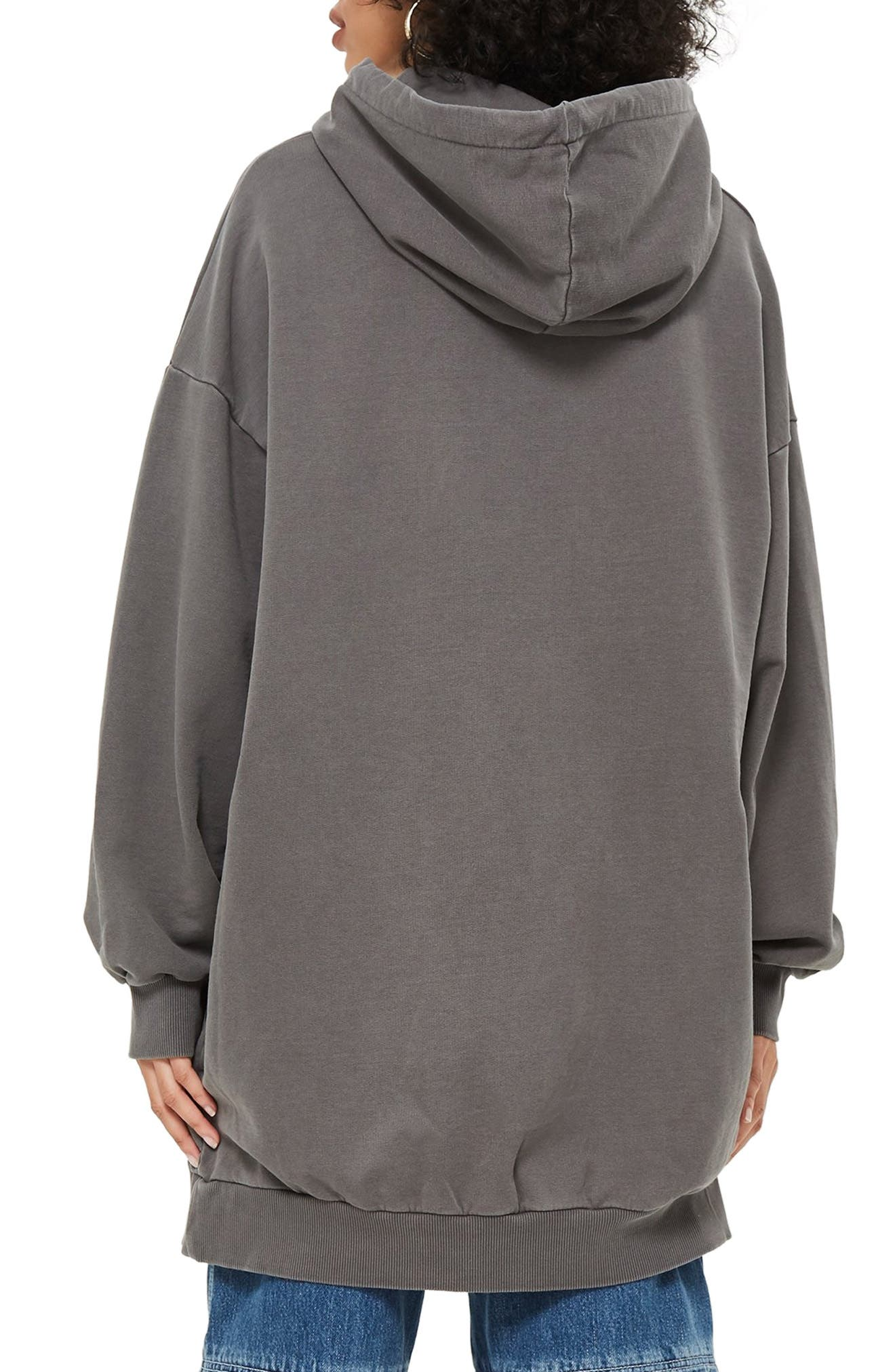 Longline Hoodie,                             Alternate thumbnail 2, color,                             GREY MARL