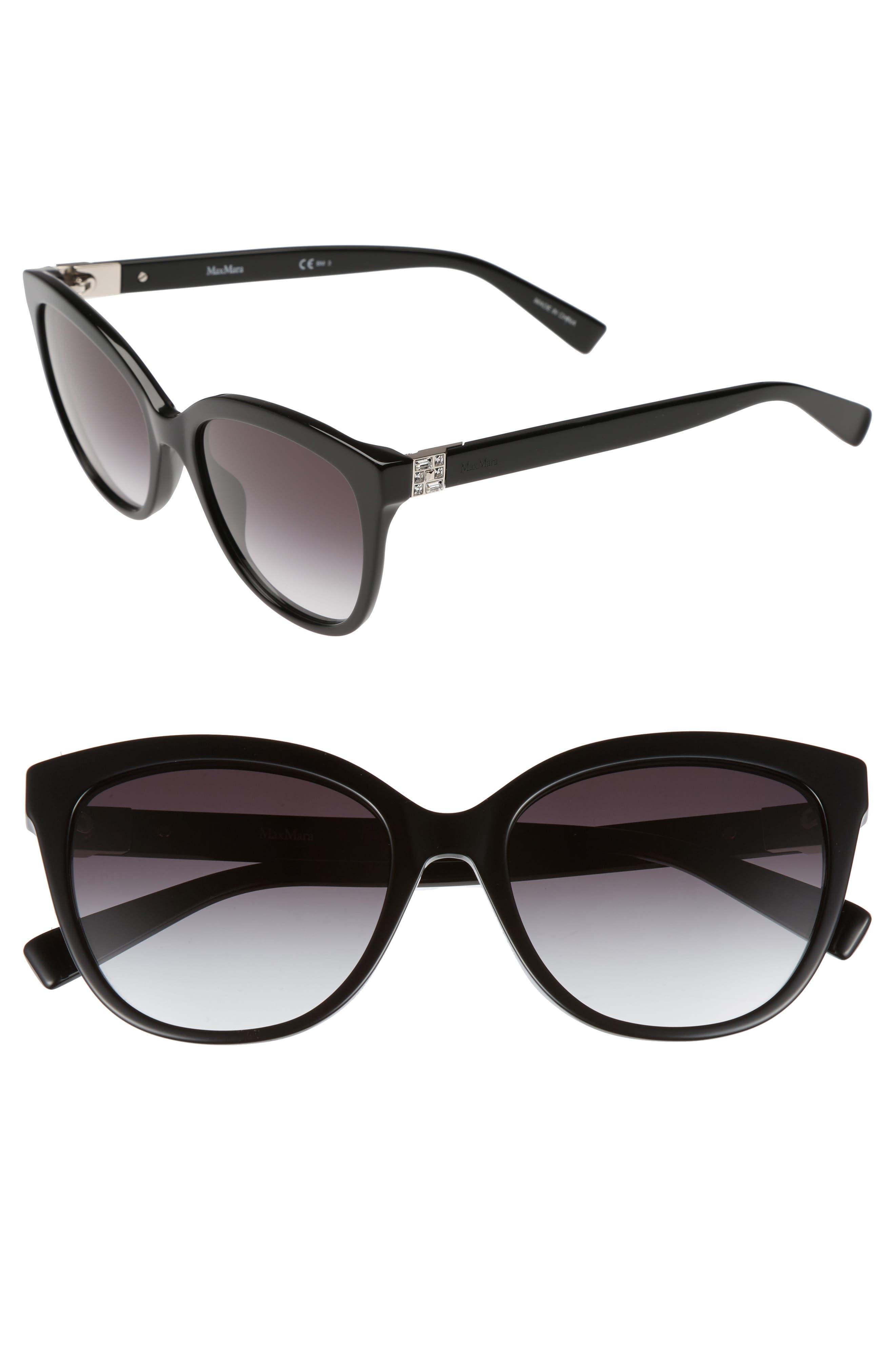 Tile 55mm Cat Eye Sunglasses,                             Main thumbnail 1, color,                             BLACK