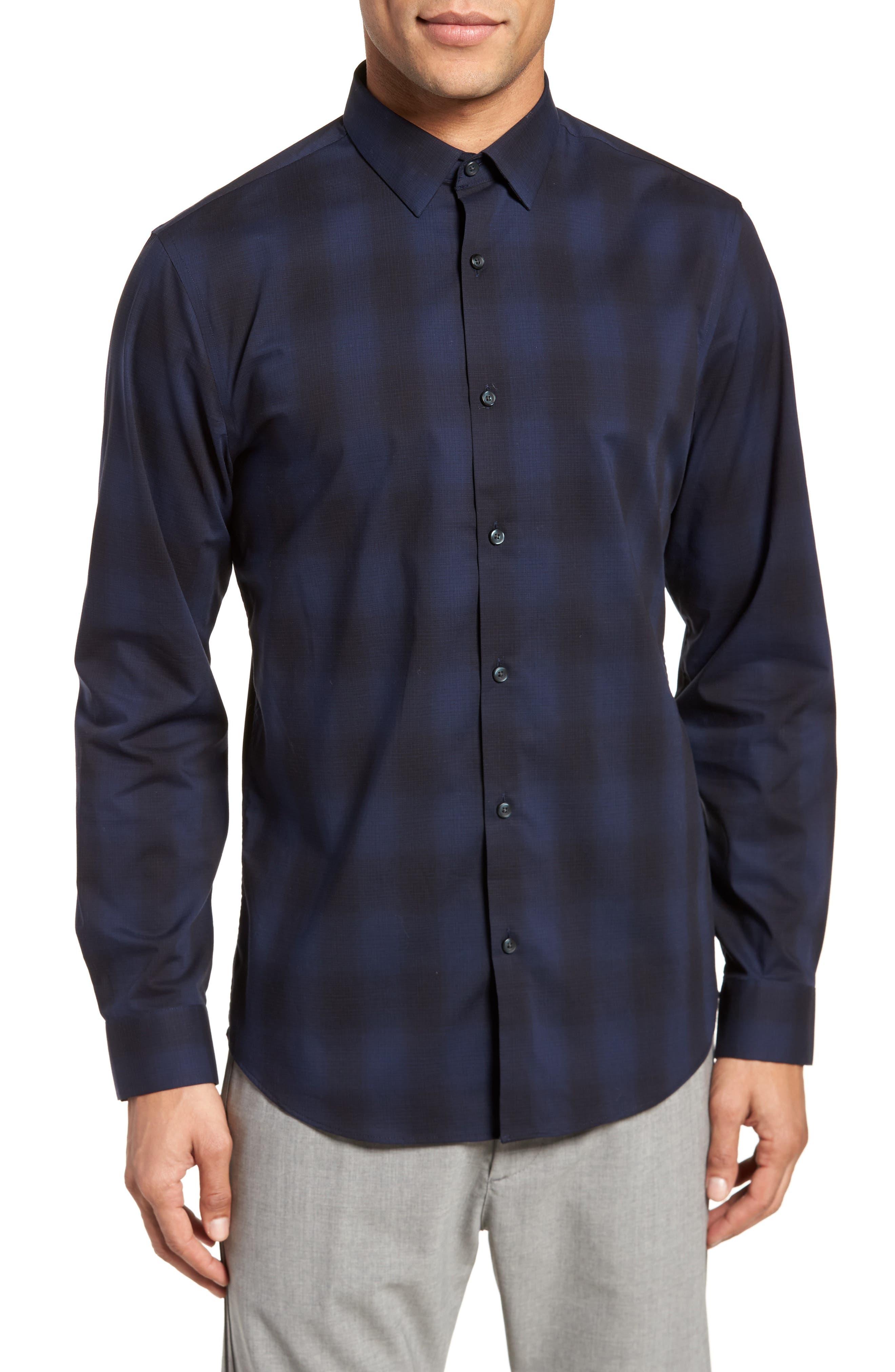 Trim Fit Plaid Sport Shirt,                         Main,                         color,