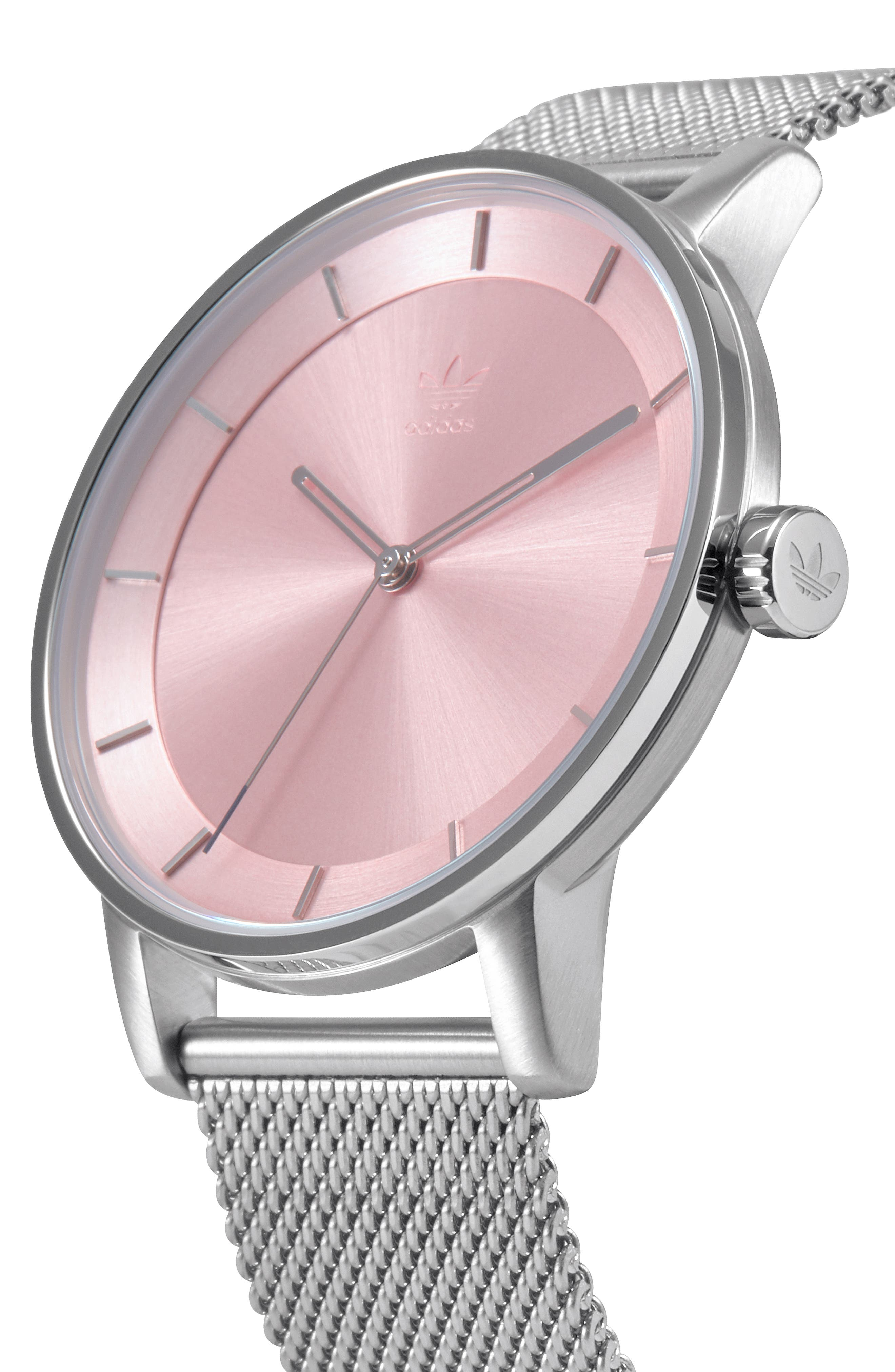 District Milanese Bracelet Watch, 40mm,                             Alternate thumbnail 5, color,                             SILVER/ PINK/ SILVER