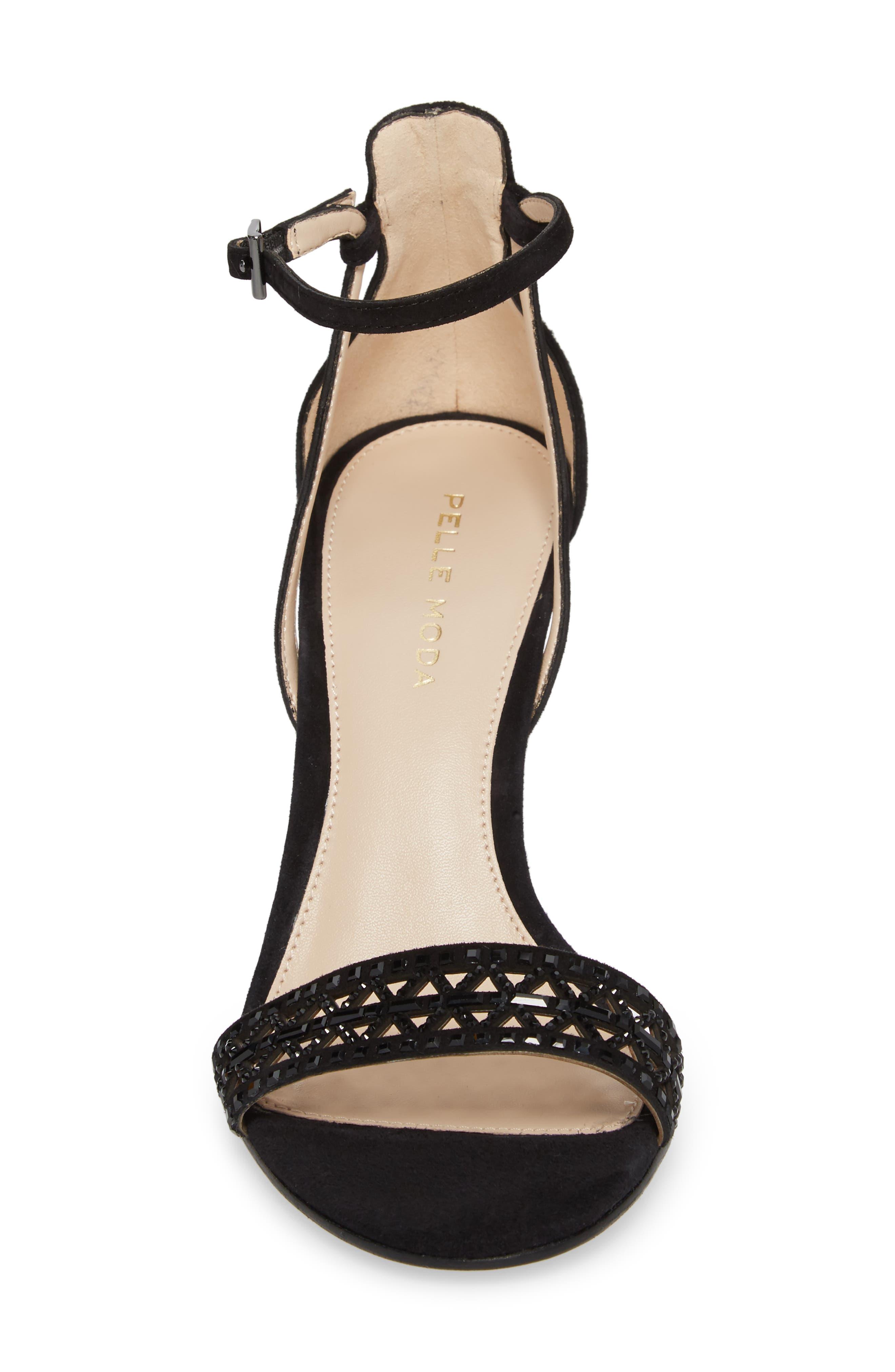 Karmina Embellished Sandal,                             Alternate thumbnail 4, color,                             BLACK SUEDE