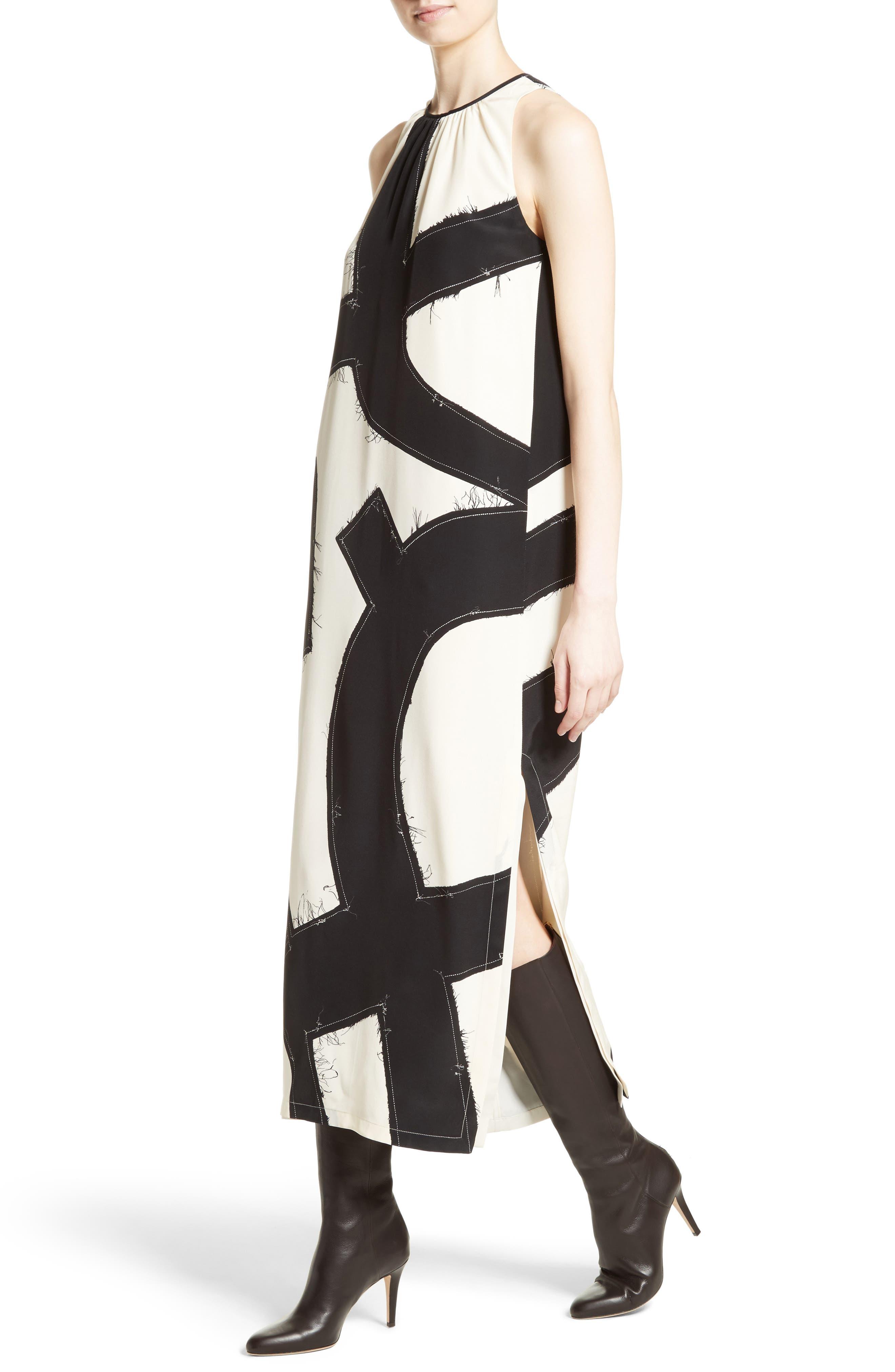 Agiato Print Silk Dress,                             Alternate thumbnail 4, color,
