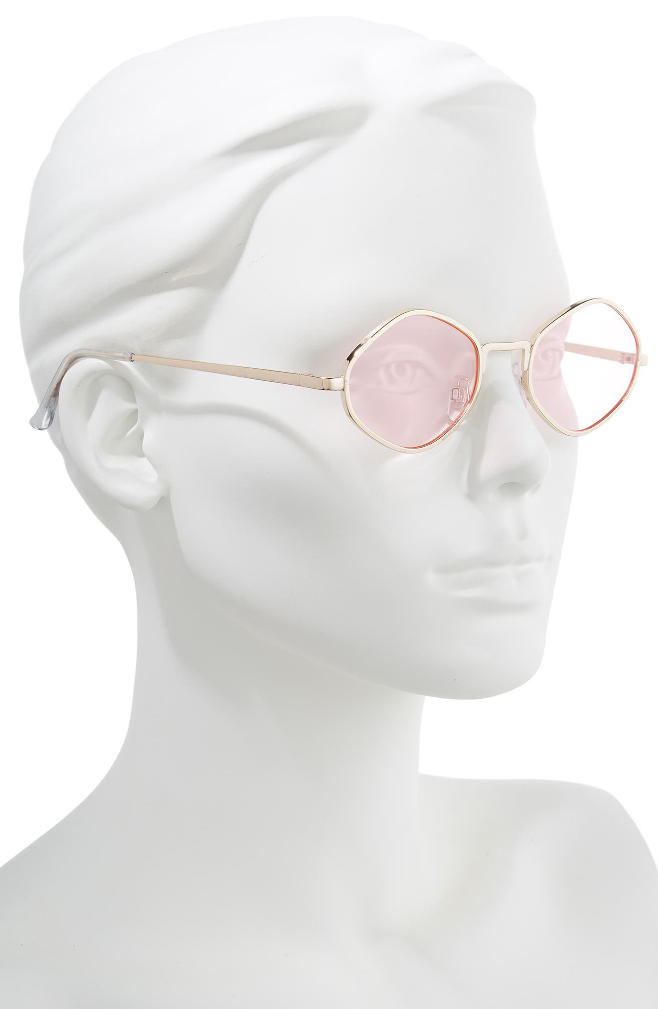 48mm Small Geo Sunglasses,                             Alternate thumbnail 2, color,                             GOLD PINK