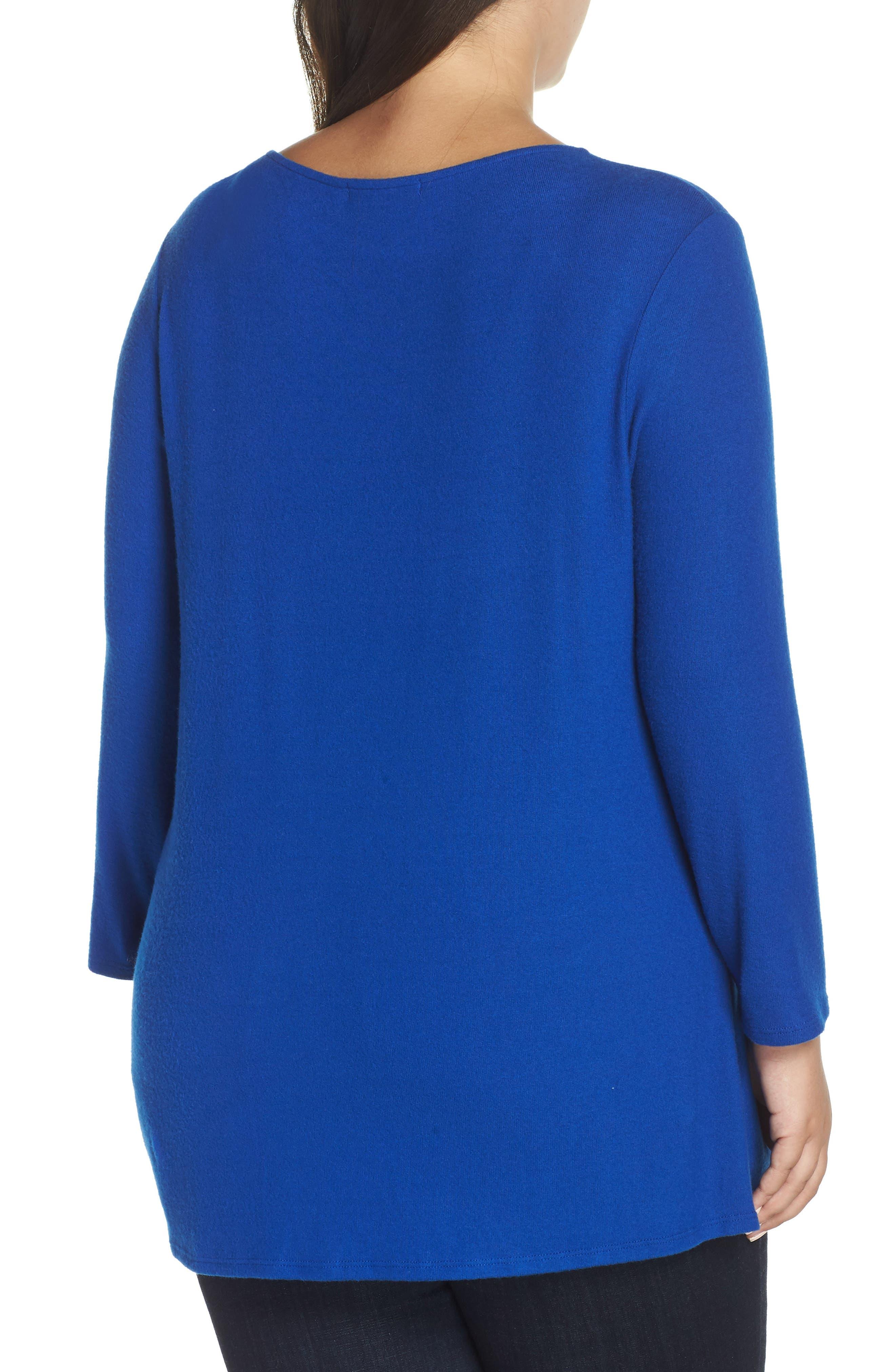 Twist Front Cozy Pullover,                             Alternate thumbnail 2, color,                             BLUE MAZE