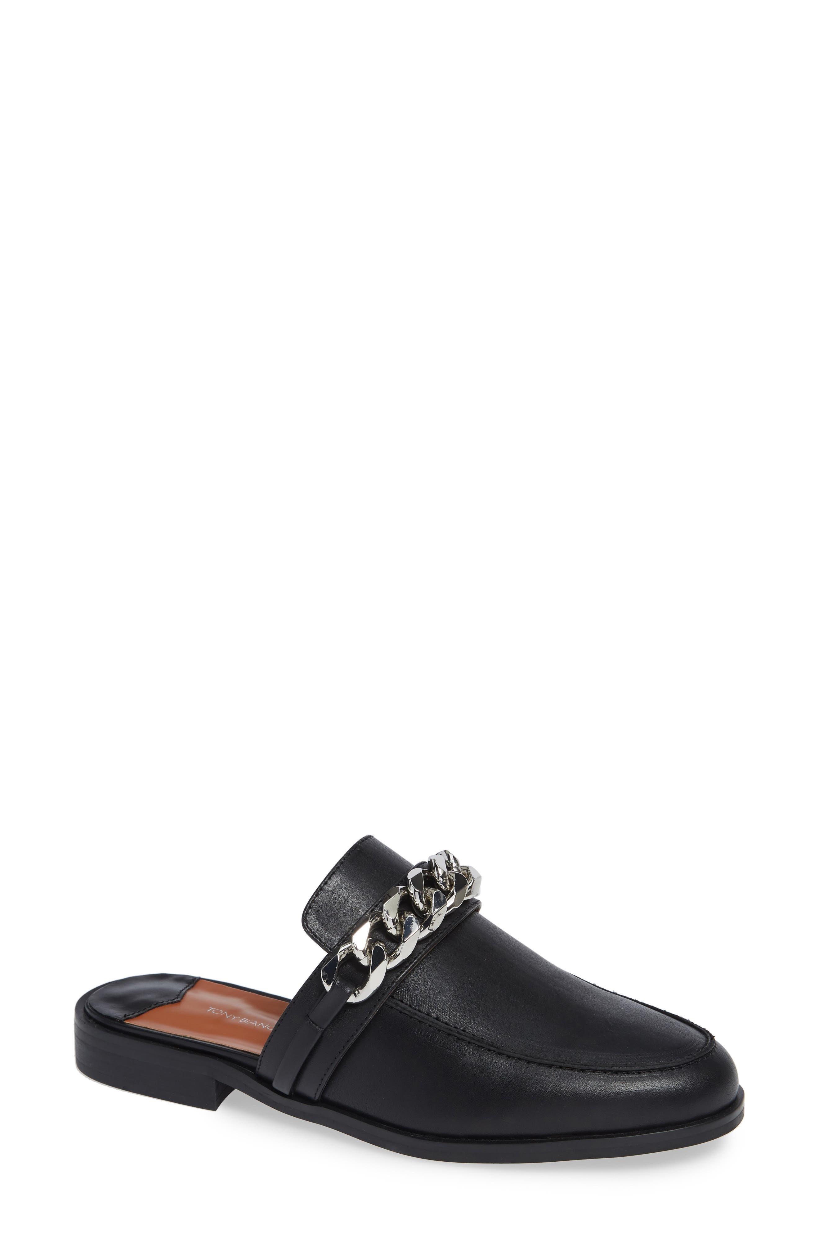 TONY BIANCO,                             Dion Mule,                             Main thumbnail 1, color,                             BLACK SMOOTH LEATHER
