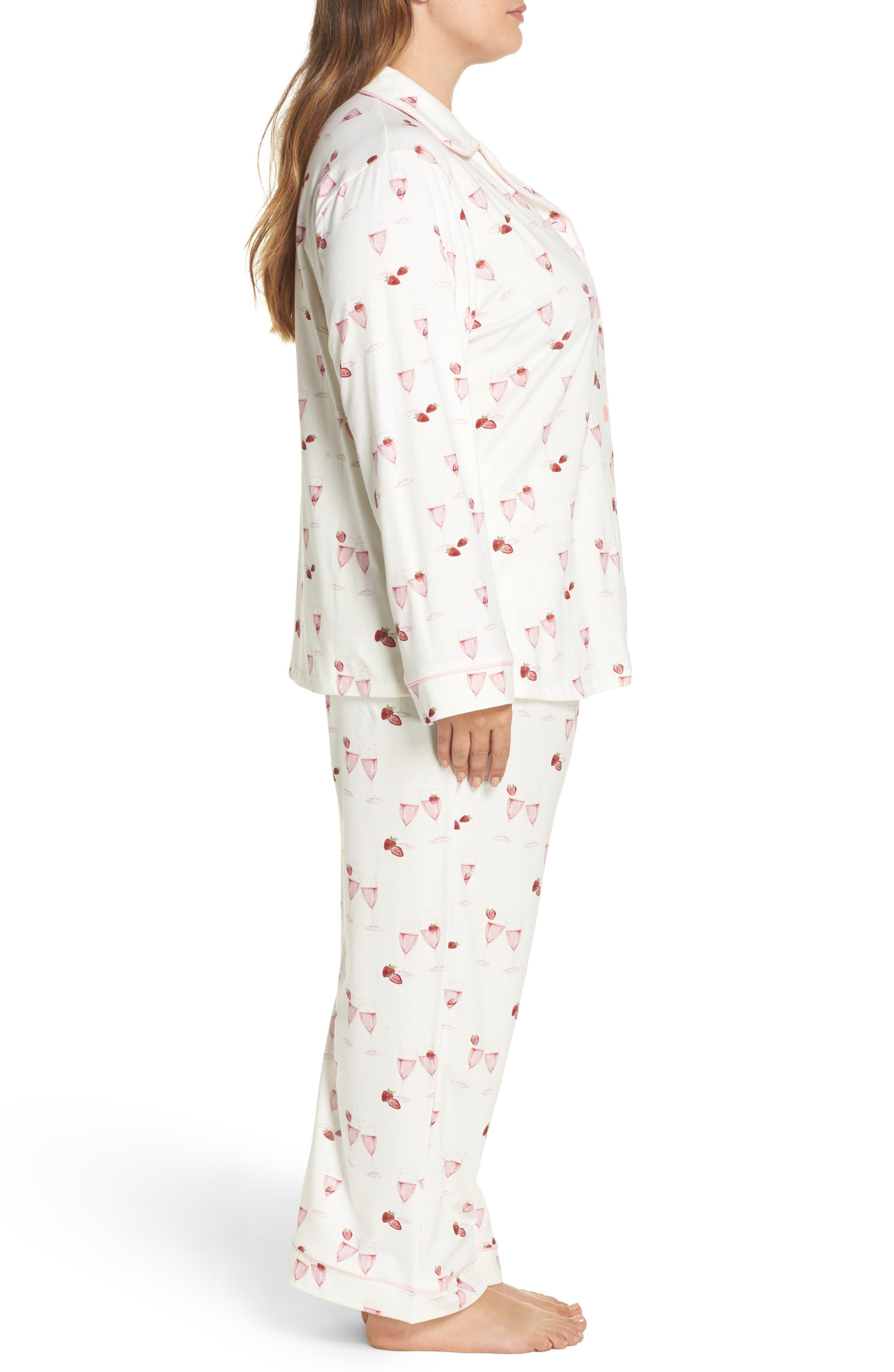 Strawberries & Champagne Print Pajamas,                             Alternate thumbnail 3, color,                             111