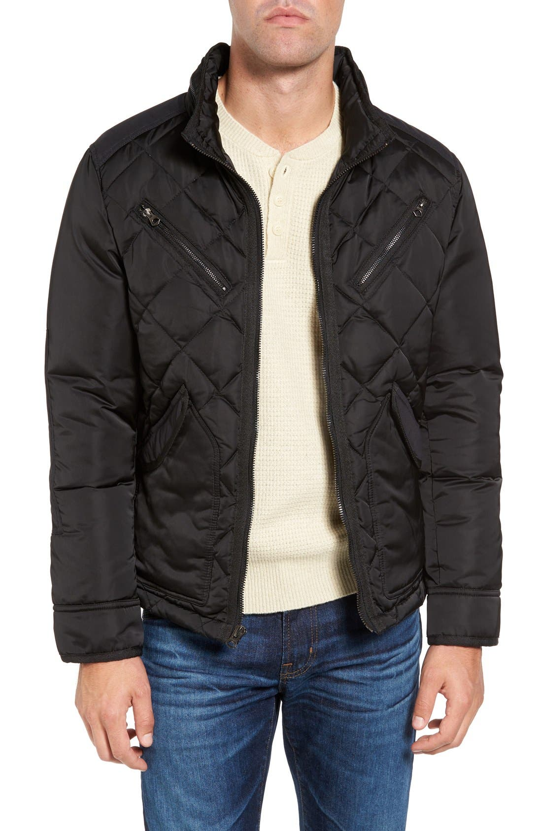 Café Racer Quilted Down Hooded Jacket,                             Main thumbnail 1, color,                             001