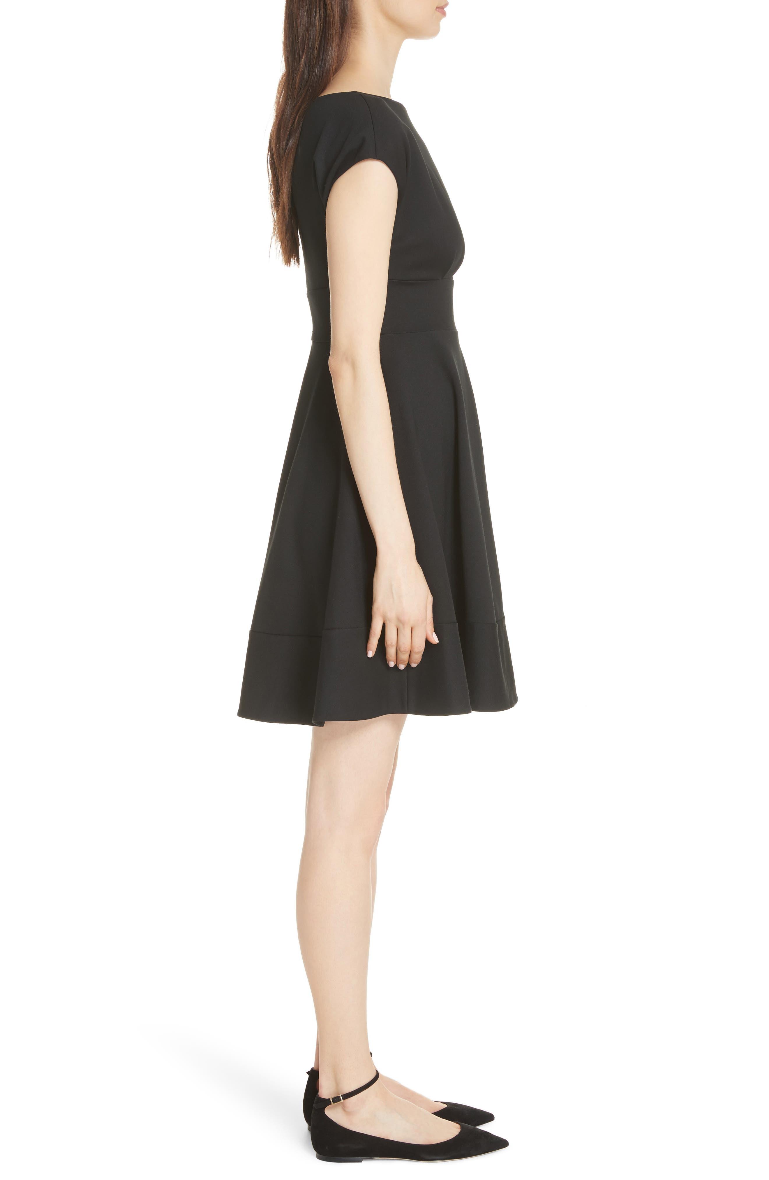 KATE SPADE NEW YORK,                             ponte fiorella fit & flare dress,                             Alternate thumbnail 3, color,                             BLACK