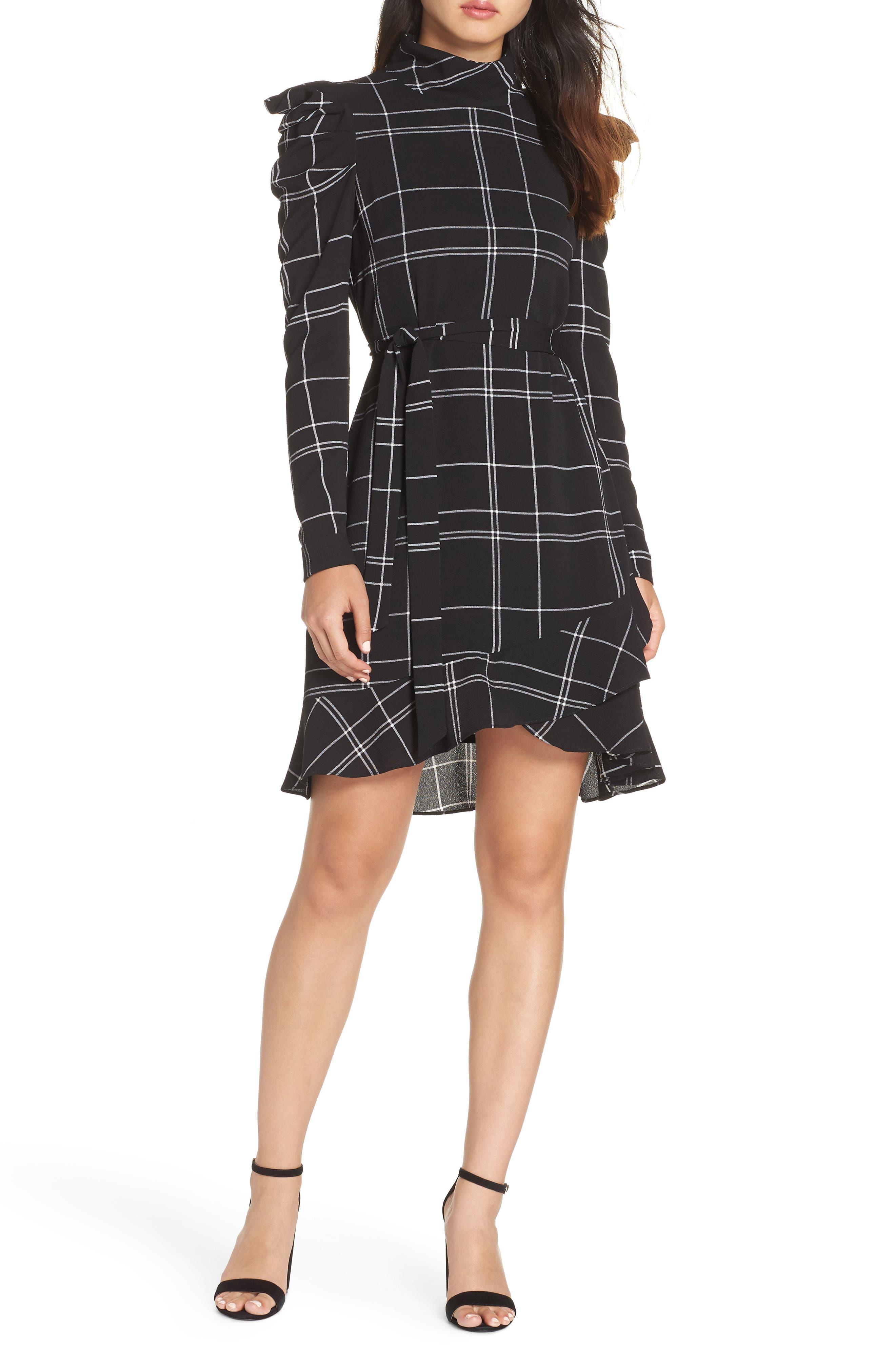 Julia Jordan Long Sleeve Crepe Dress, Black