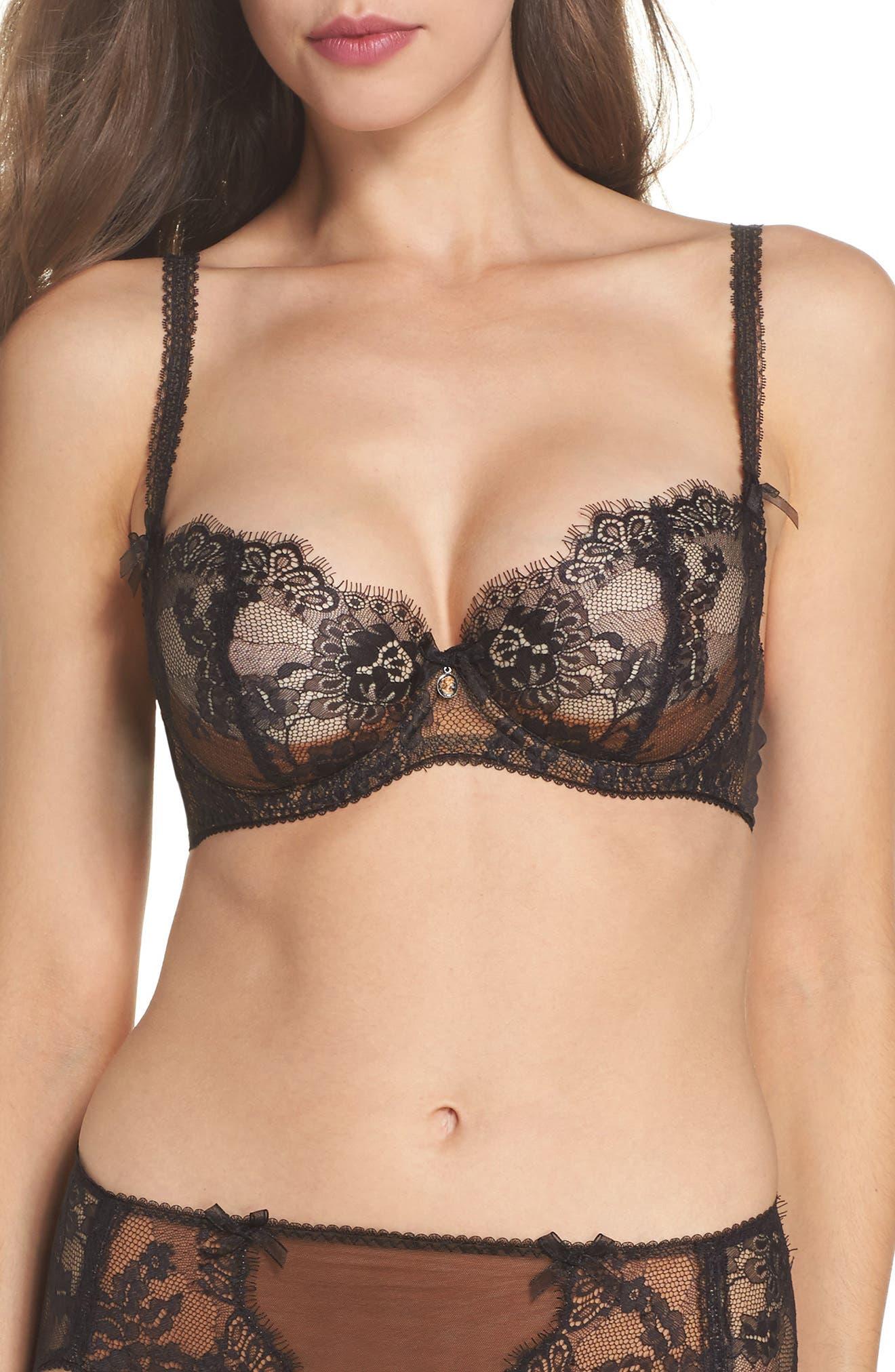 Savoir Faire Sheer Lace Balconette Underwire Bra in Black/ Copper