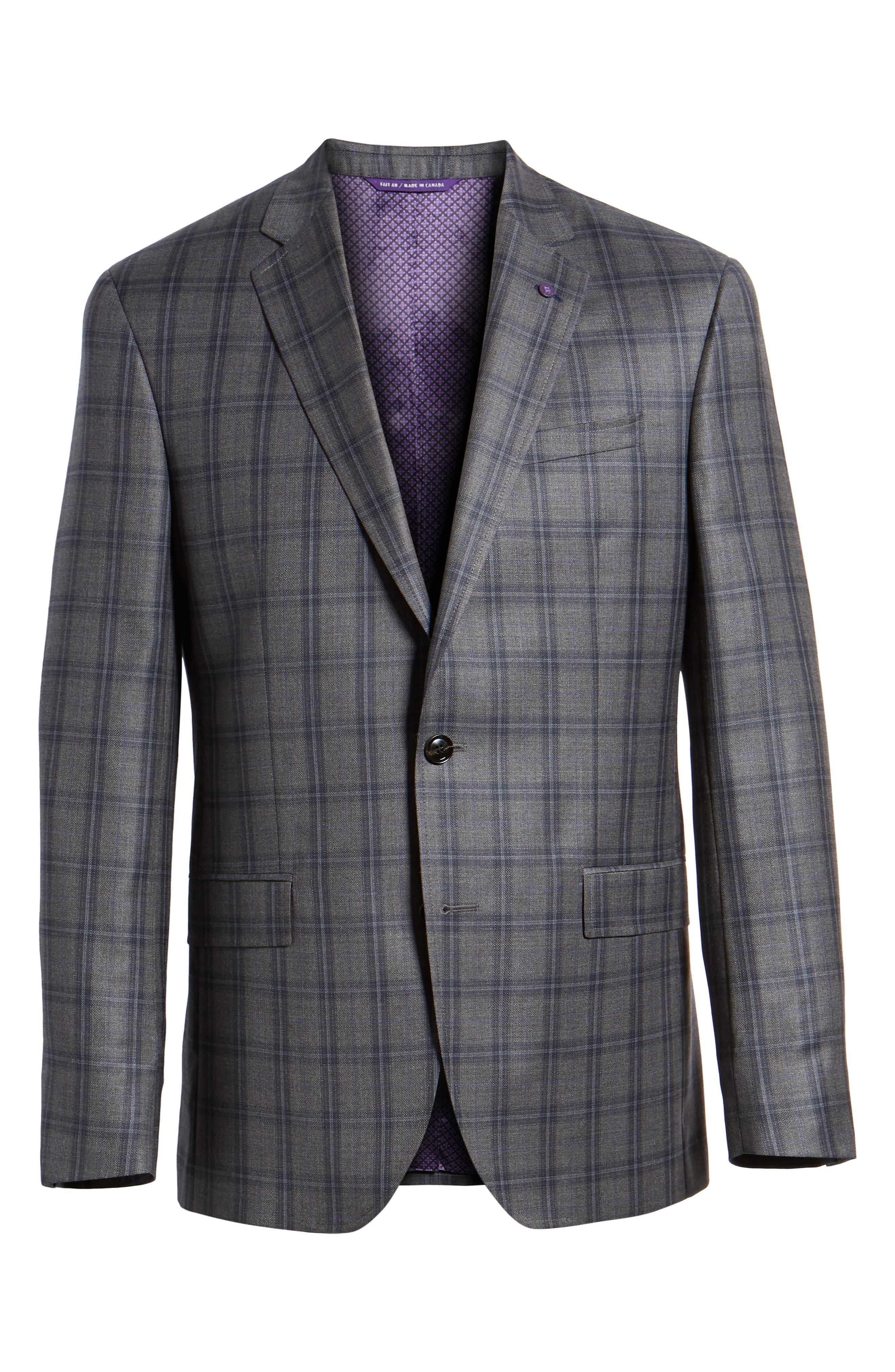 Jay Trim Fit Windowpane Wool Sport Coat,                             Alternate thumbnail 5, color,                             GREY