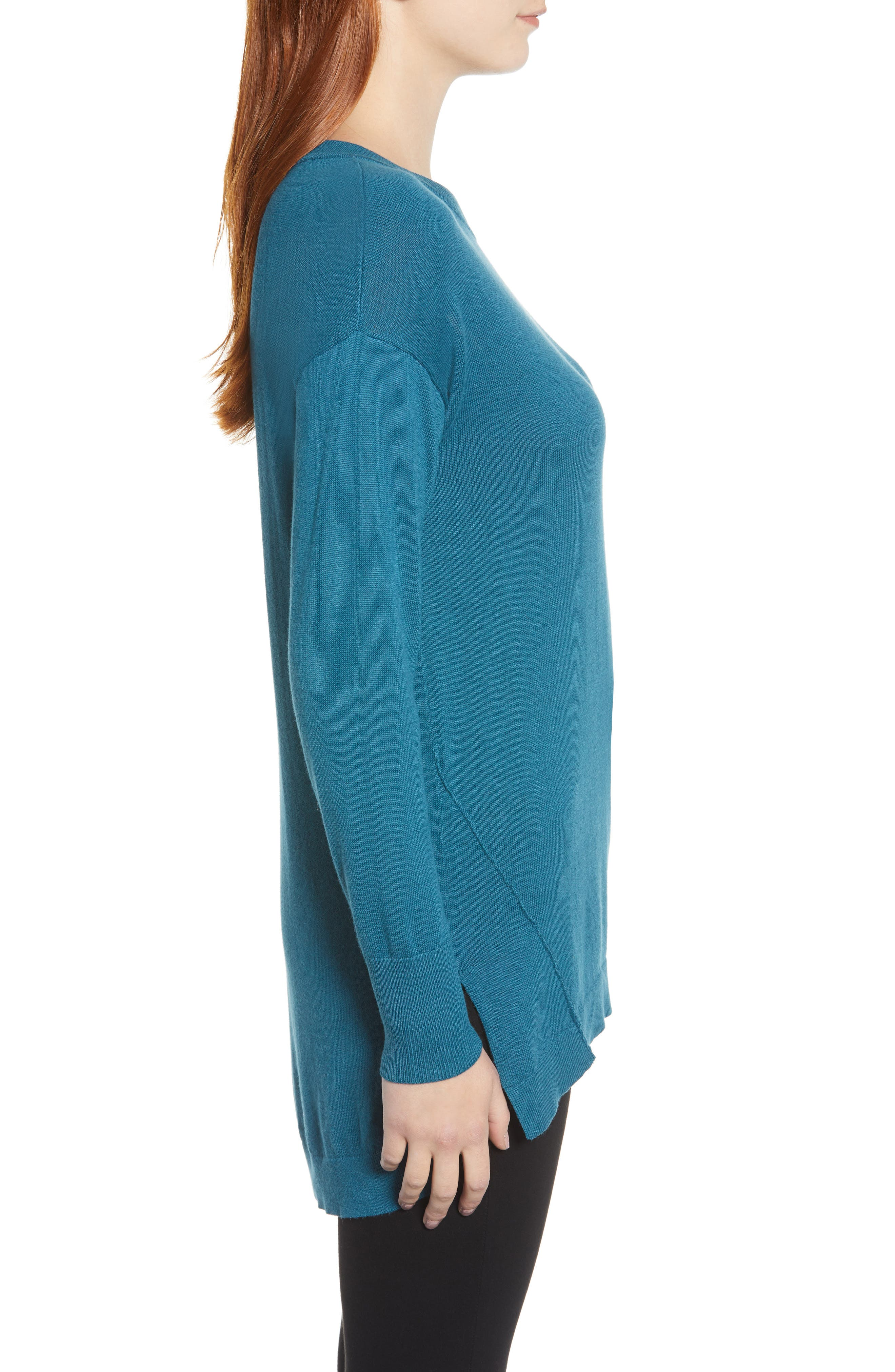 Zip Back High/Low Tunic Sweater,                             Alternate thumbnail 3, color,                             TEAL CORAL