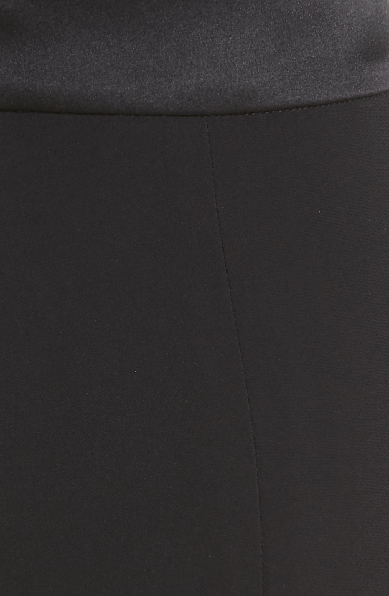 CUSHNIE,                             High Waist Crop Slim Pants,                             Alternate thumbnail 5, color,                             BLACK