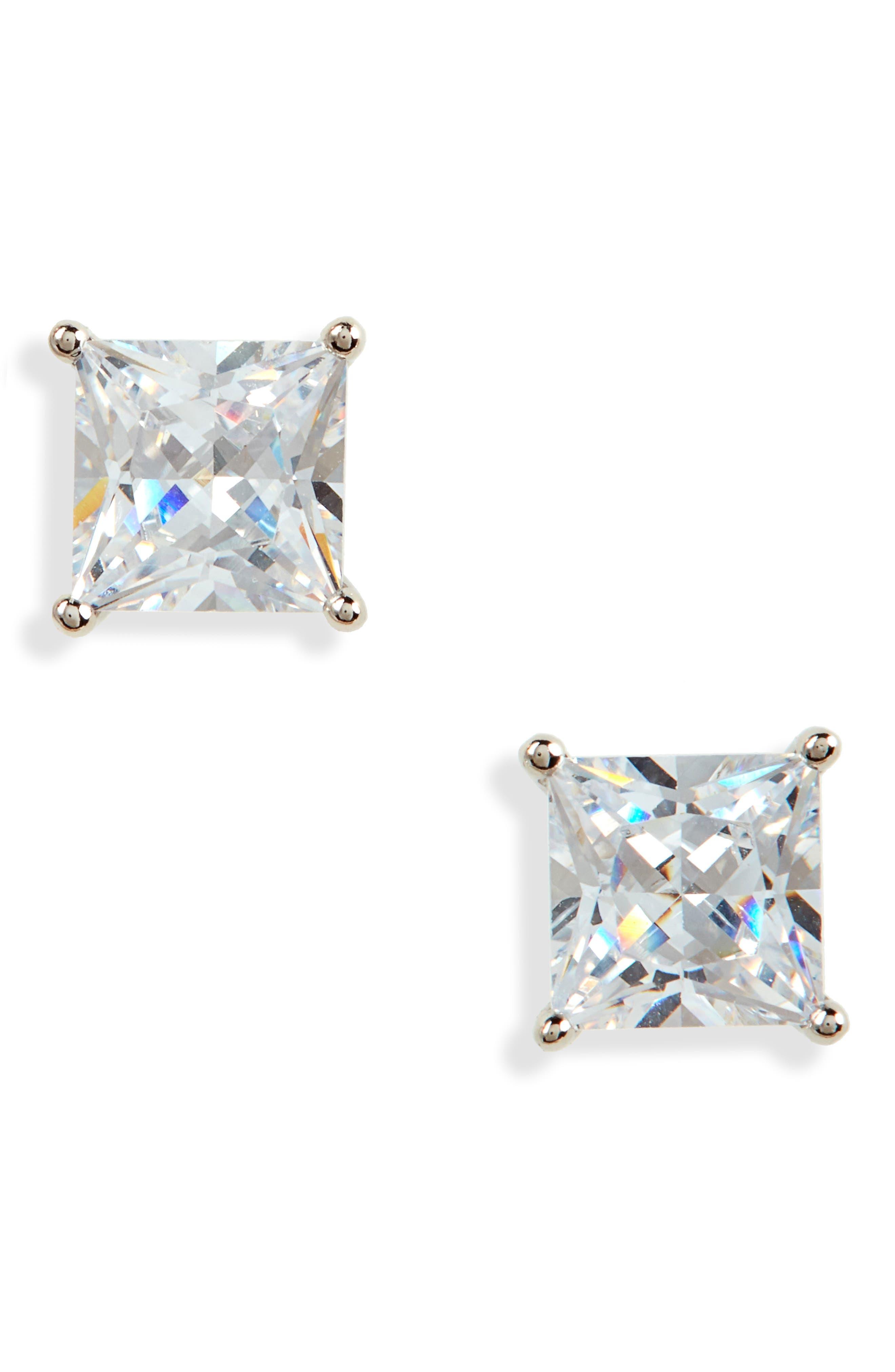 2ct tw Princess Cut Stud Earrings,                             Main thumbnail 1, color,
