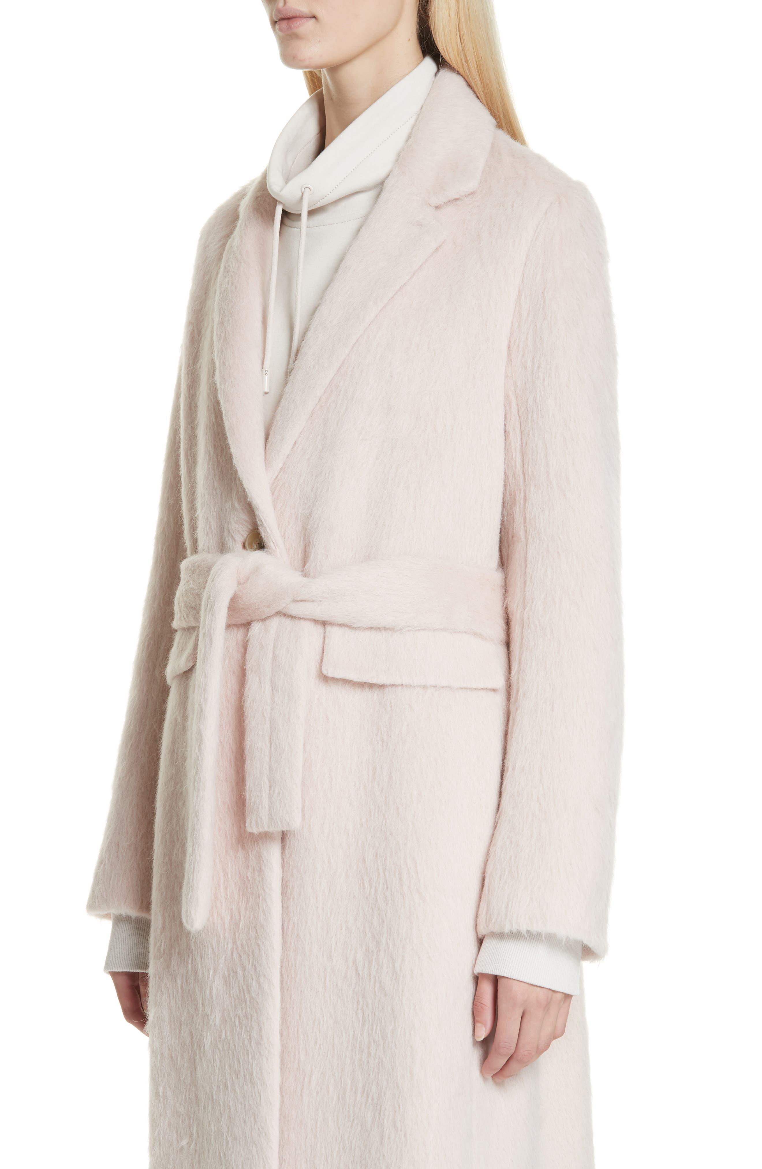 Long Faux Fur Coat,                             Alternate thumbnail 4, color,                             PALE DUSK