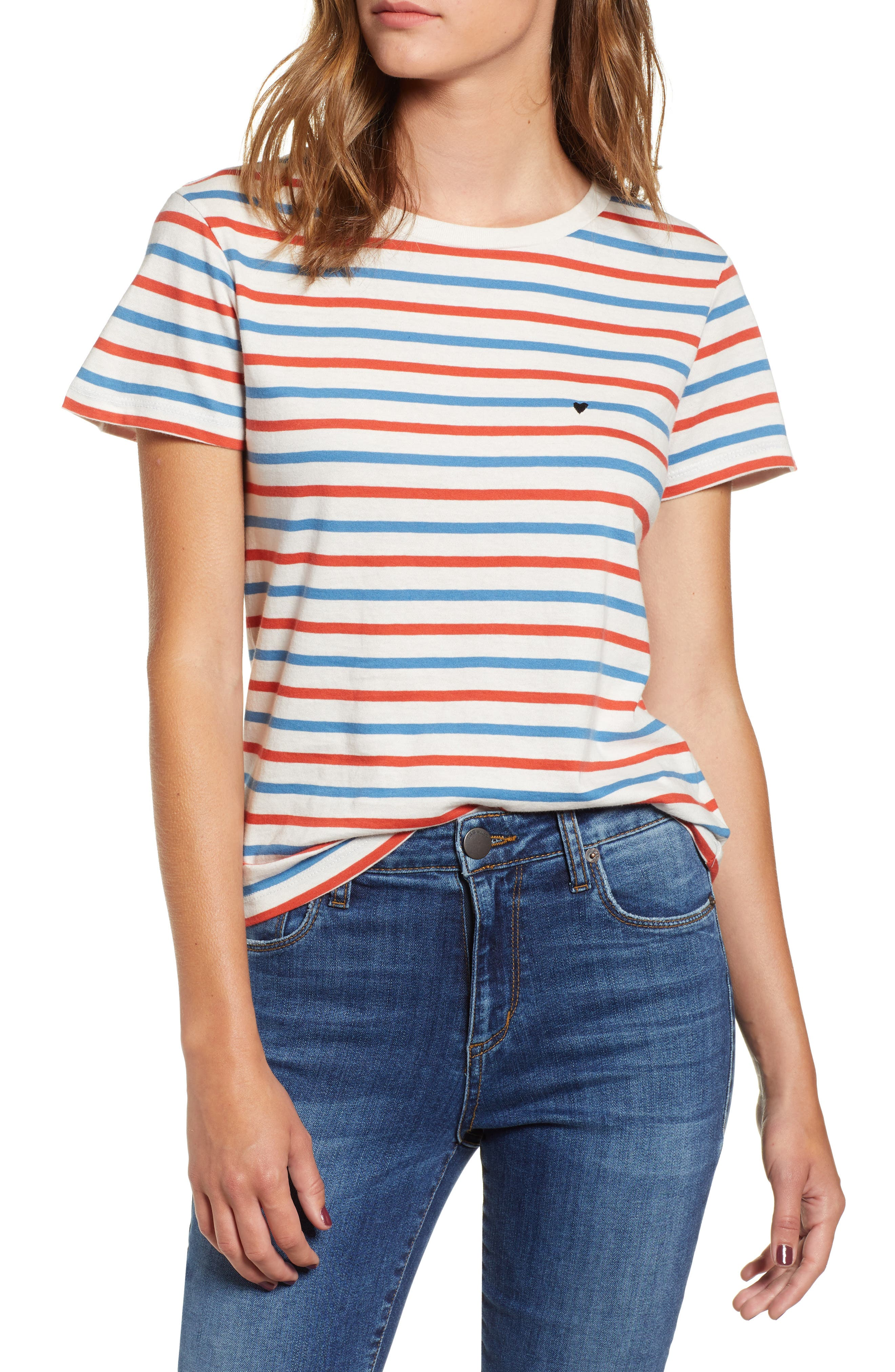 Vanessa Heart Embroidered Vincent Stripe Tee,                         Main,                         color, CHERRY/ WINDSOR/ WHITE