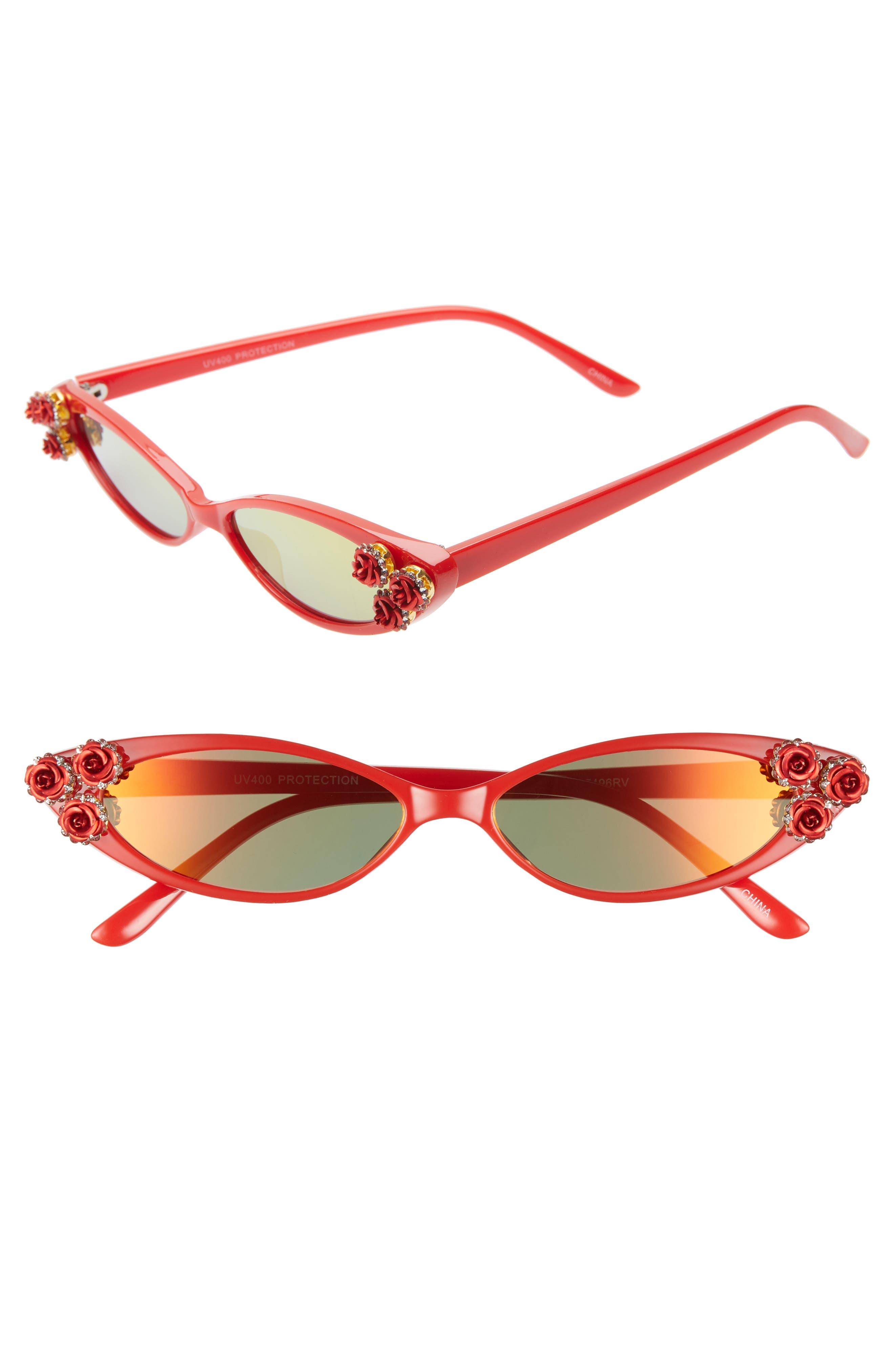 Rad + Refined Mini Oval Sunglasses - Red/ Crystal
