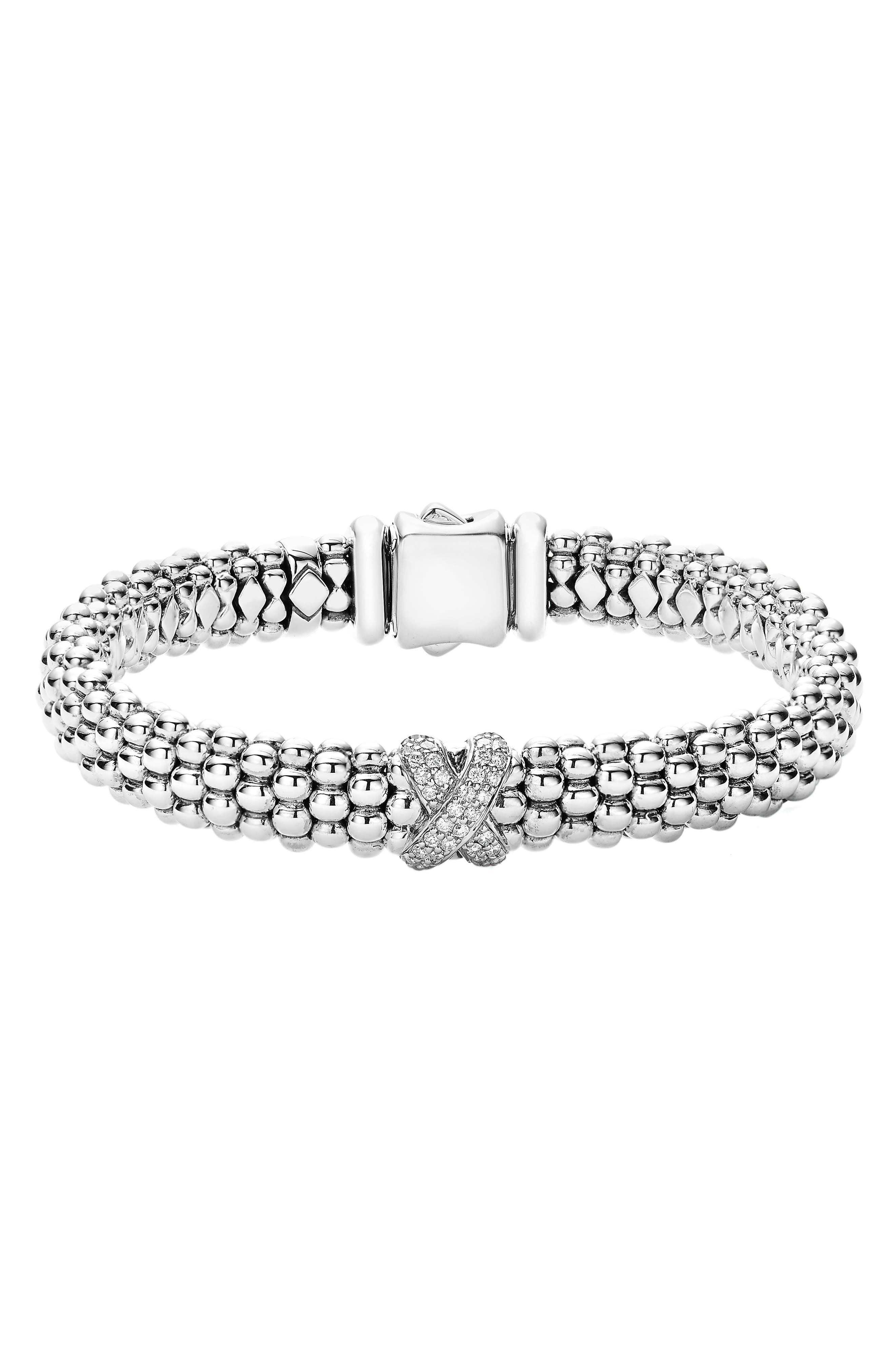 Diamond Lux Single Station X Bracelet,                             Main thumbnail 1, color,                             SILVER