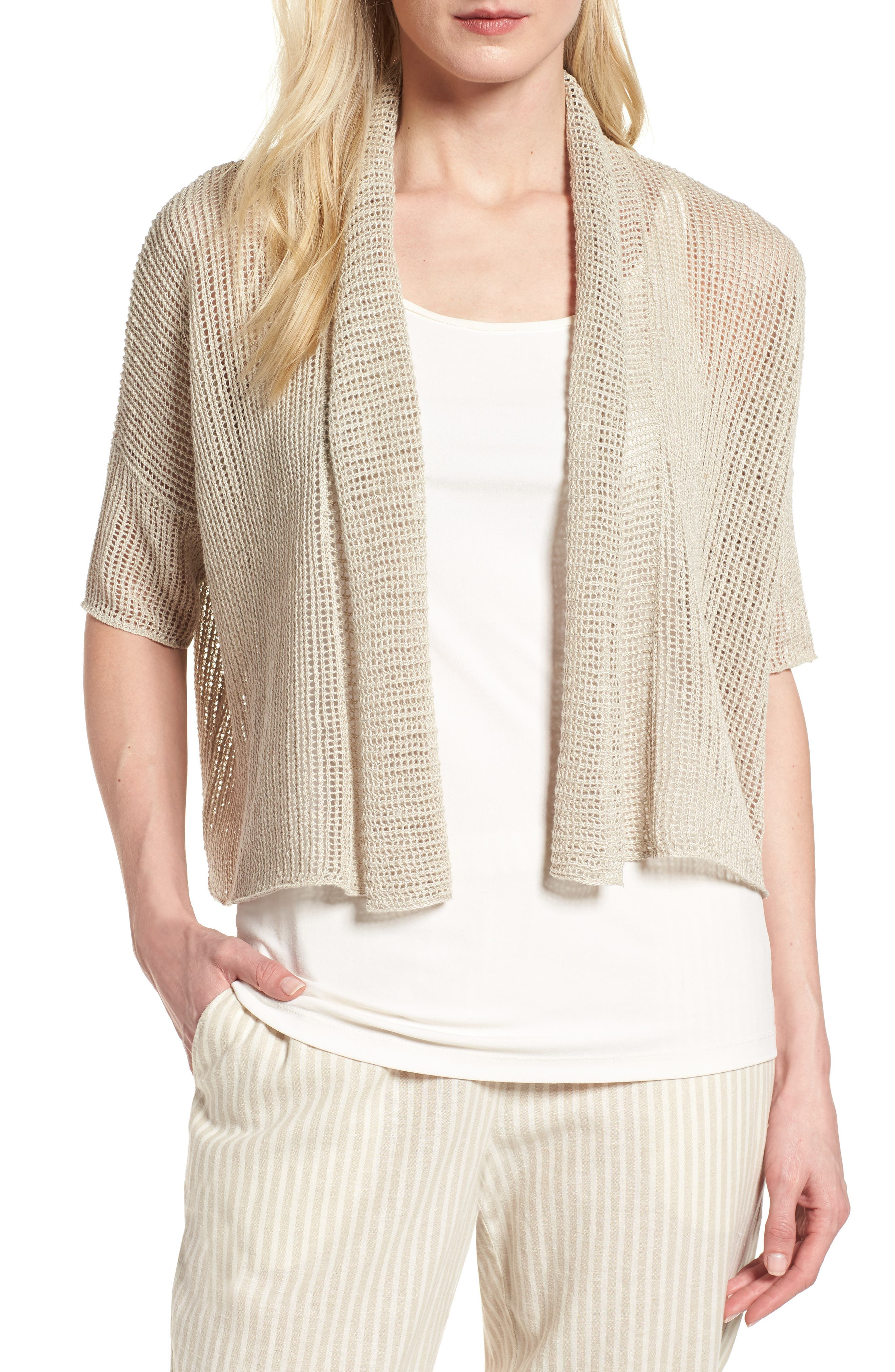 Boxy Organic Linen Cardigan,                             Main thumbnail 2, color,