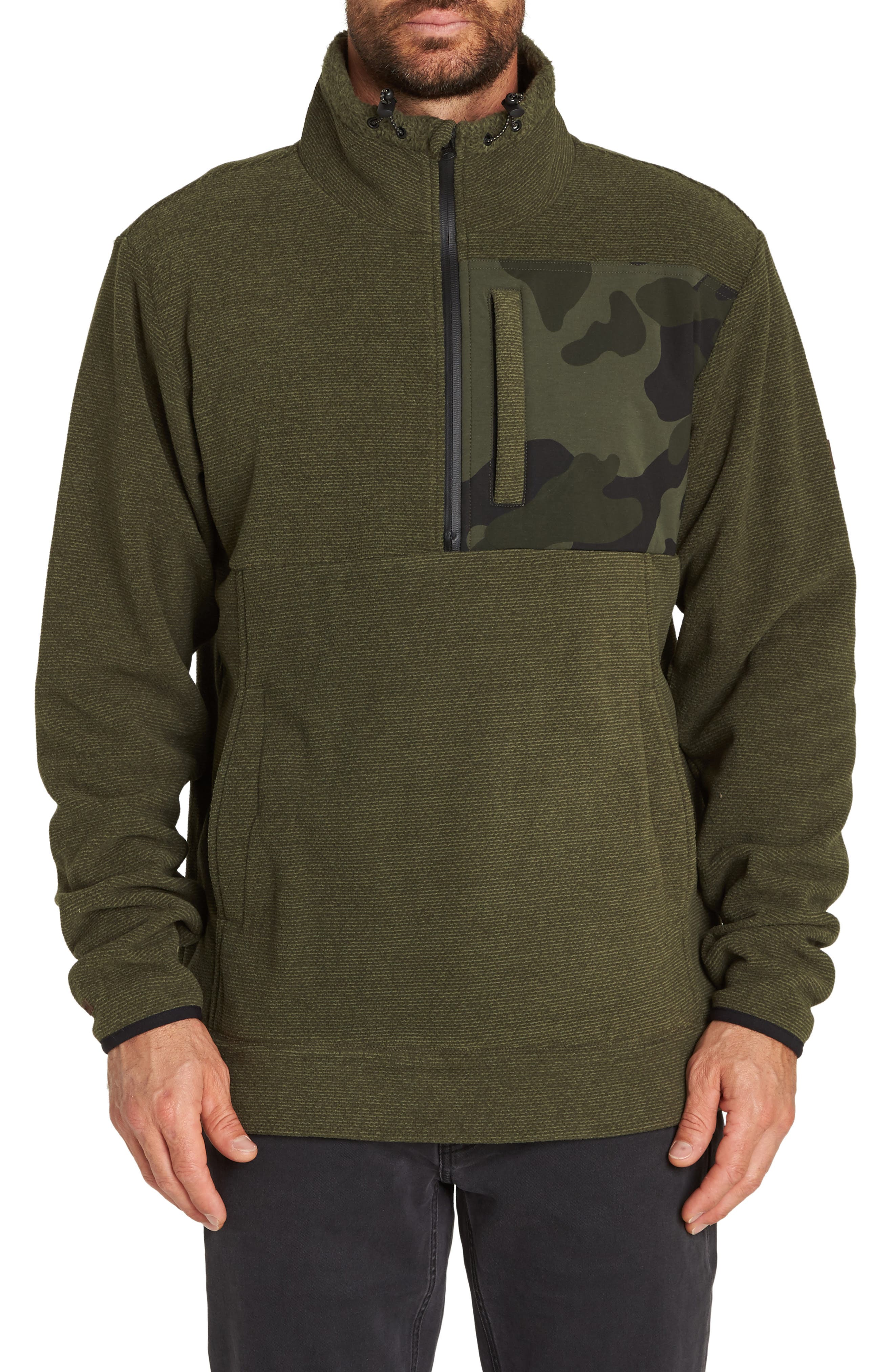 Boundary Mock Half Zip Pullover,                         Main,                         color, MILITARY