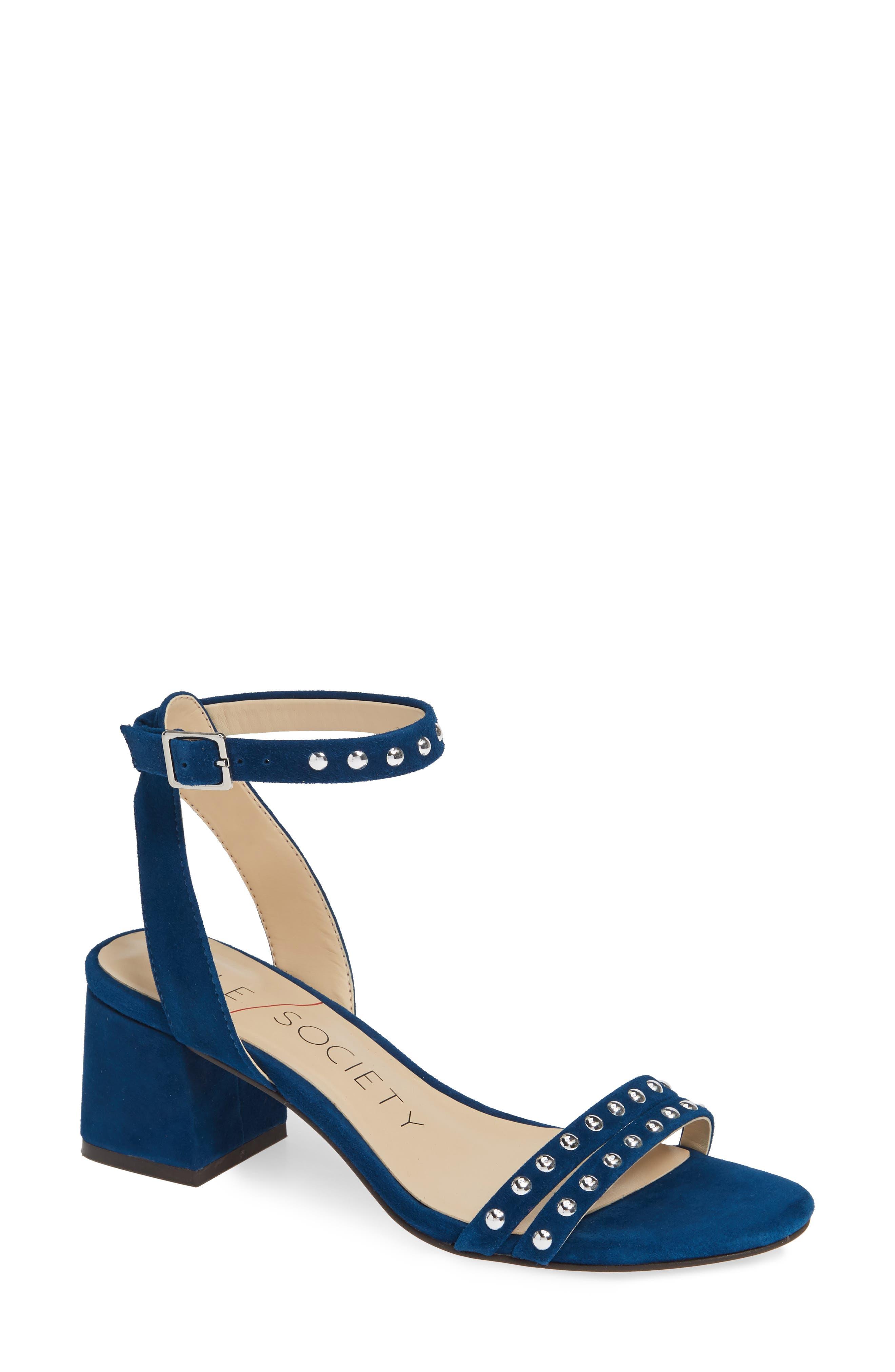 Hezzter Studded Sandal, Main, color, CERULEAN BLUE SUEDE