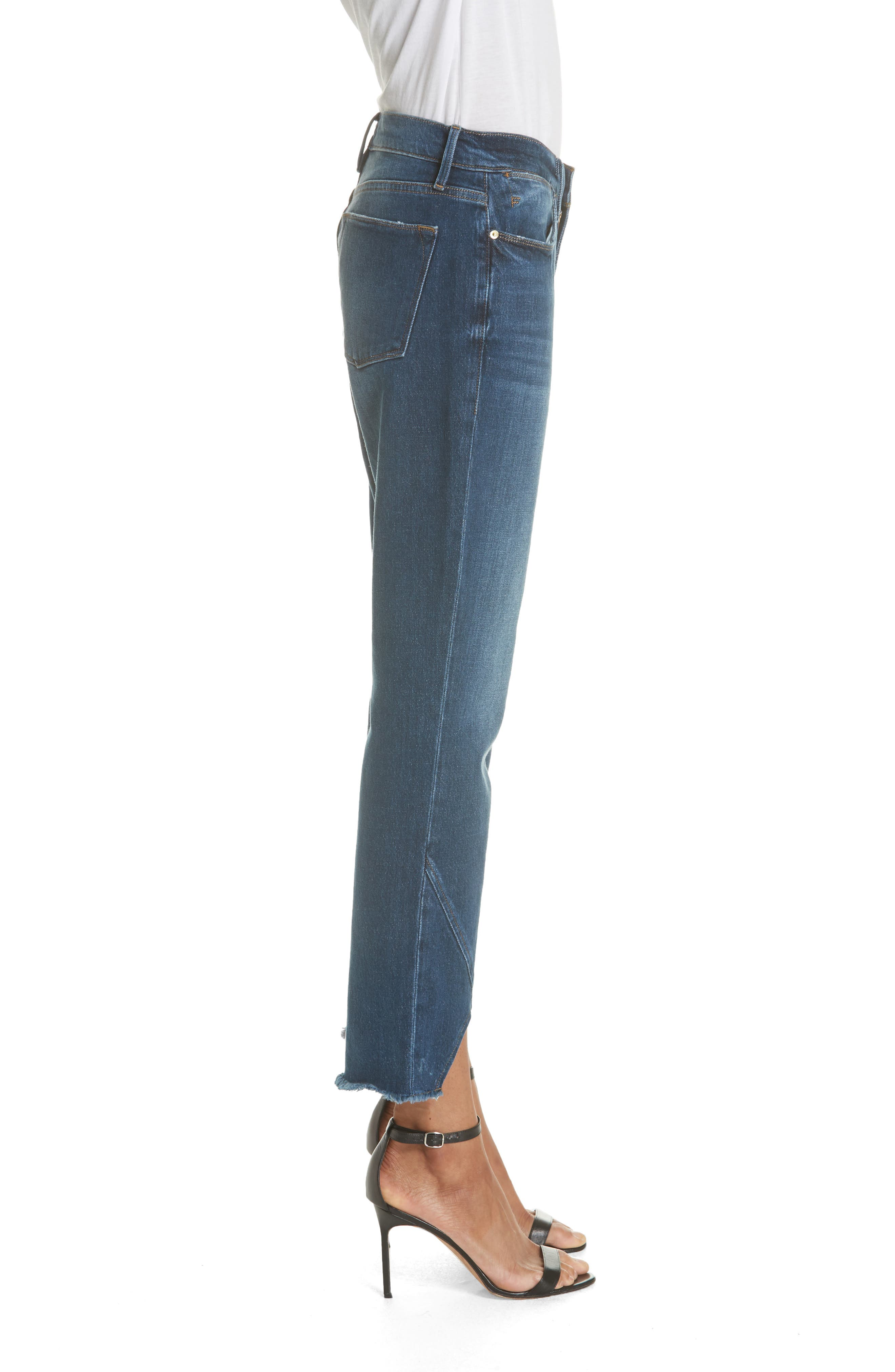 Le High Straight Asymmetrical Hem Jeans,                             Alternate thumbnail 3, color,                             401