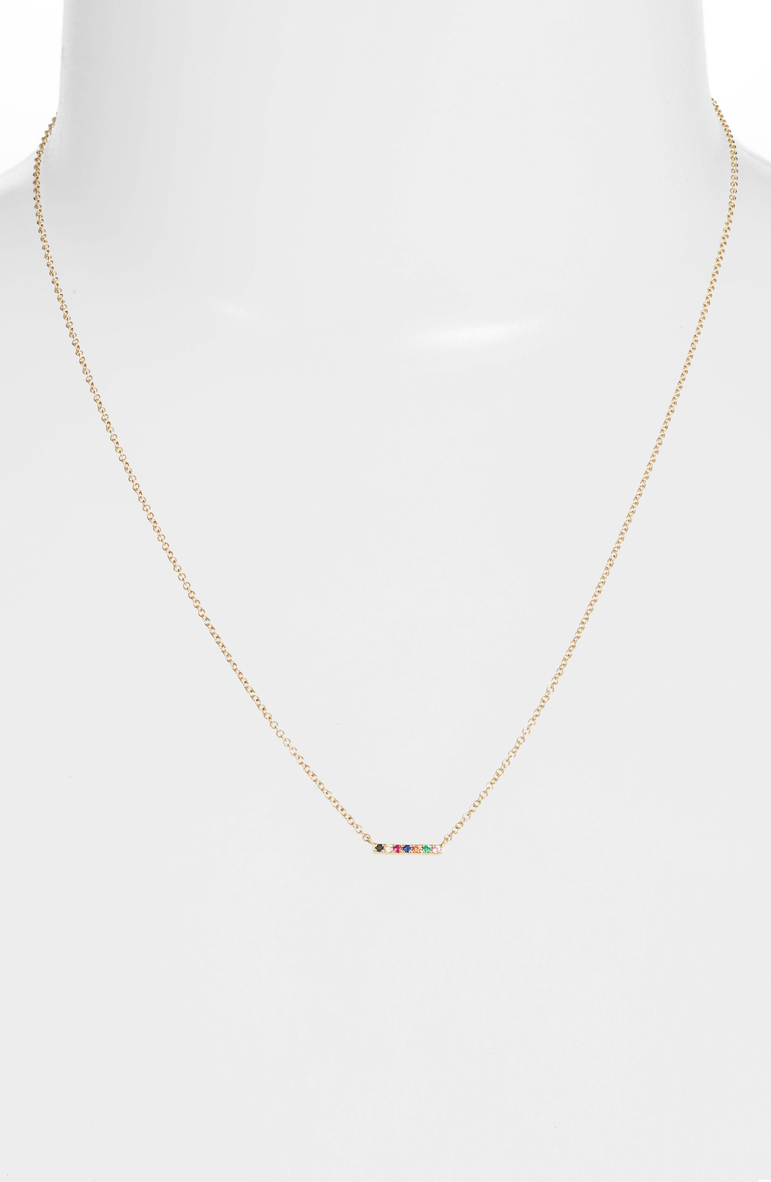 Mini Bar Rainbow Necklace,                             Alternate thumbnail 2, color,                             YELLOW GOLD