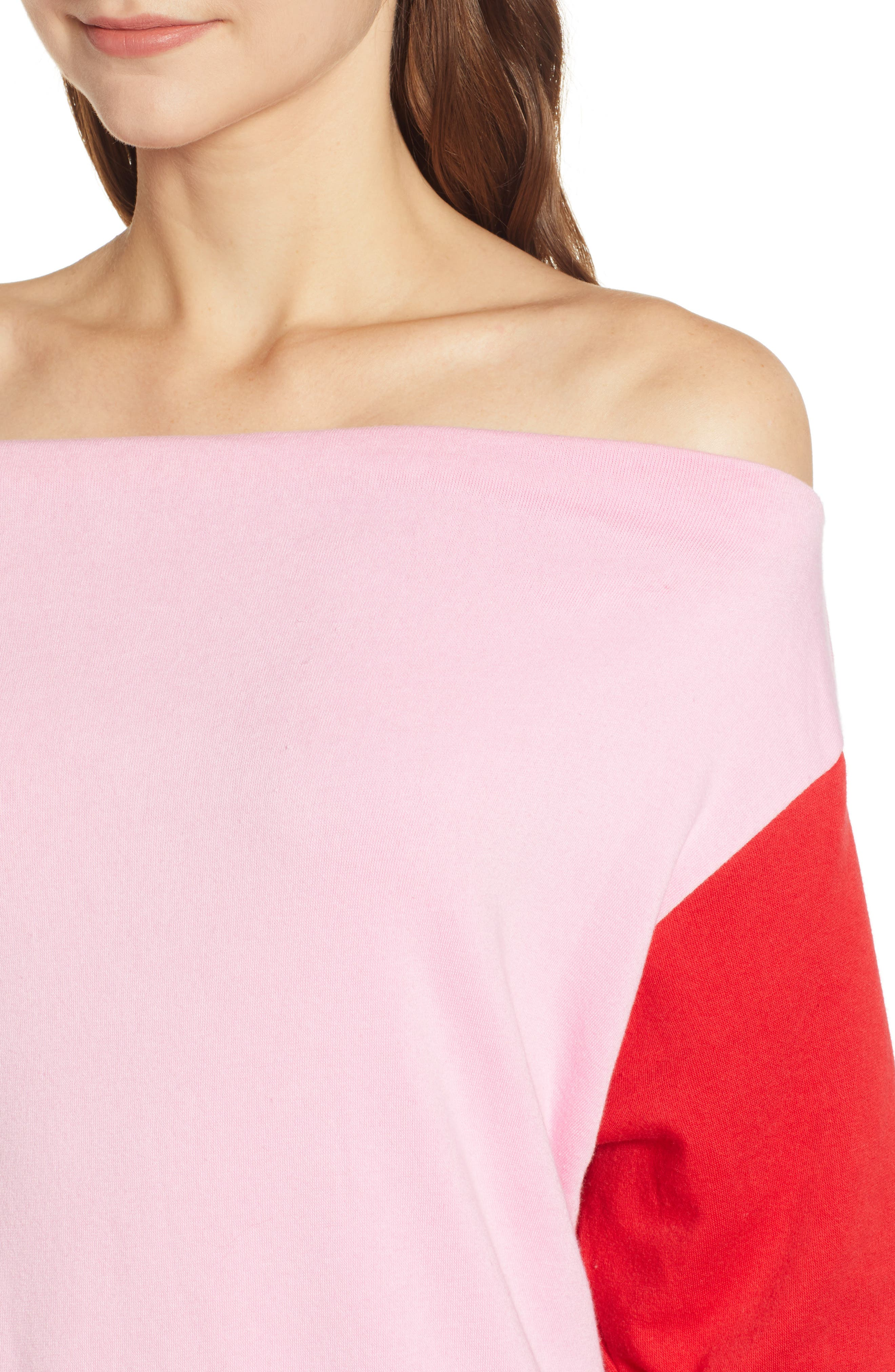 Colorblock Fleece Sweatshirt,                             Alternate thumbnail 4, color,                             PINK PRISM