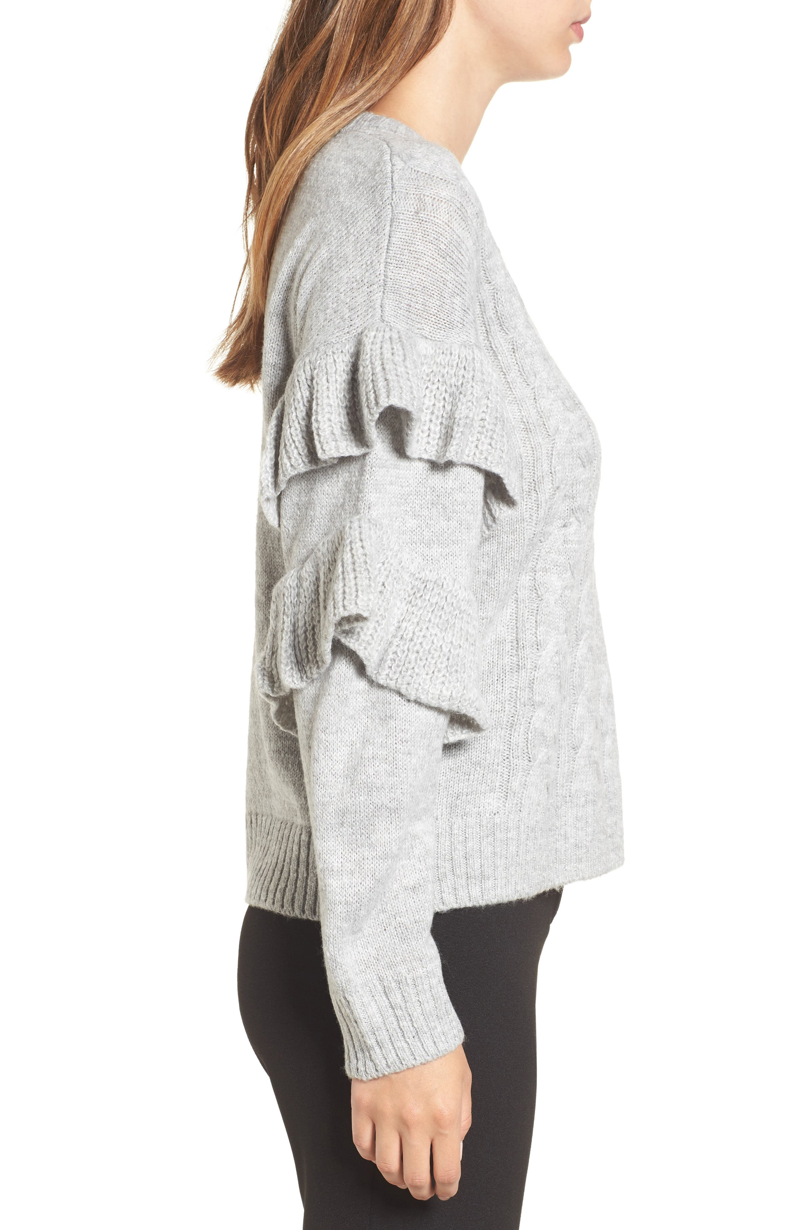 Sophie Ruffle Sleeve Sweater,                             Alternate thumbnail 3, color,
