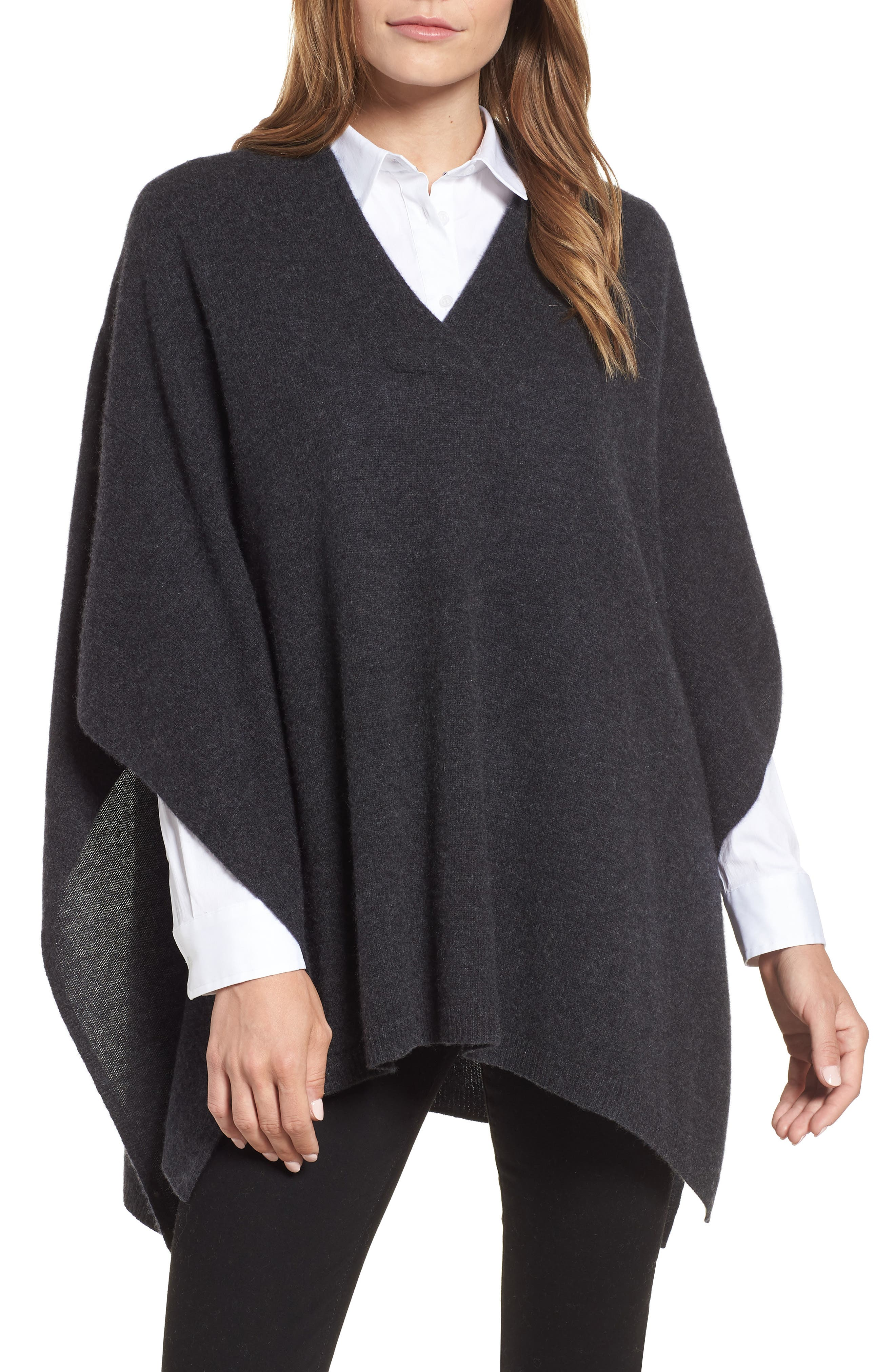 Halogen Cashmere Poncho,                             Main thumbnail 1, color,                             GREY CHARCOAL HEATHER