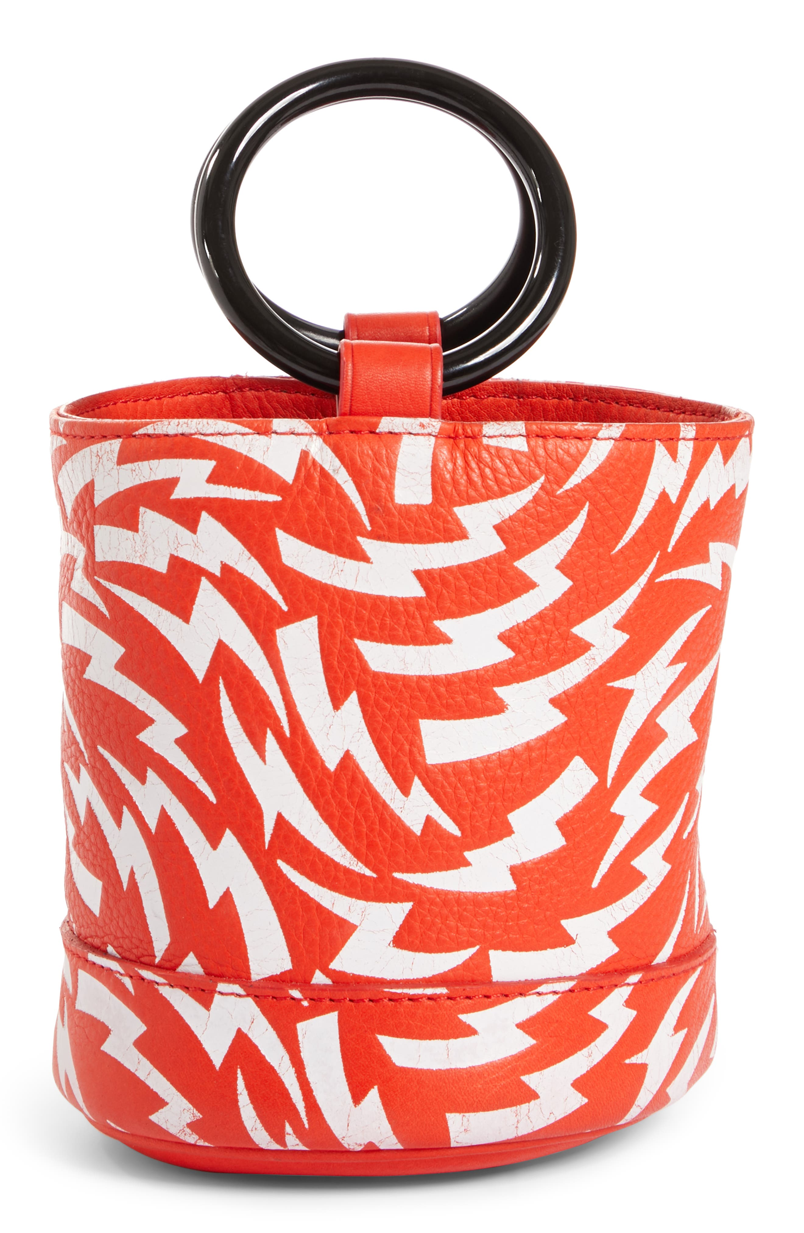 x Paramount Grease Bonsai 15 Lightning Print Bucket Bag,                             Alternate thumbnail 3, color,                             WHITE LIGHTNING BOLT