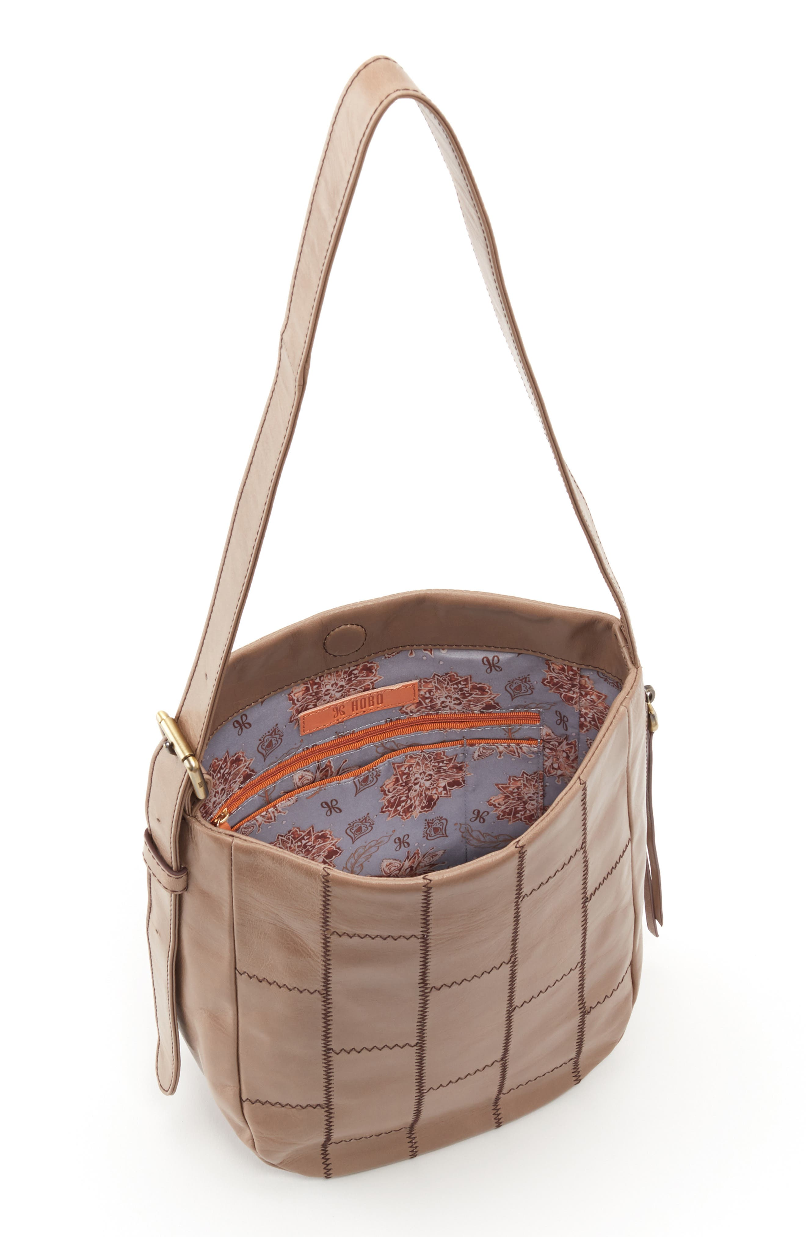 HOBO,                             Kharma Patchwork Calfskin Leather Bucket Bag,                             Alternate thumbnail 3, color,                             COBBLESTONE