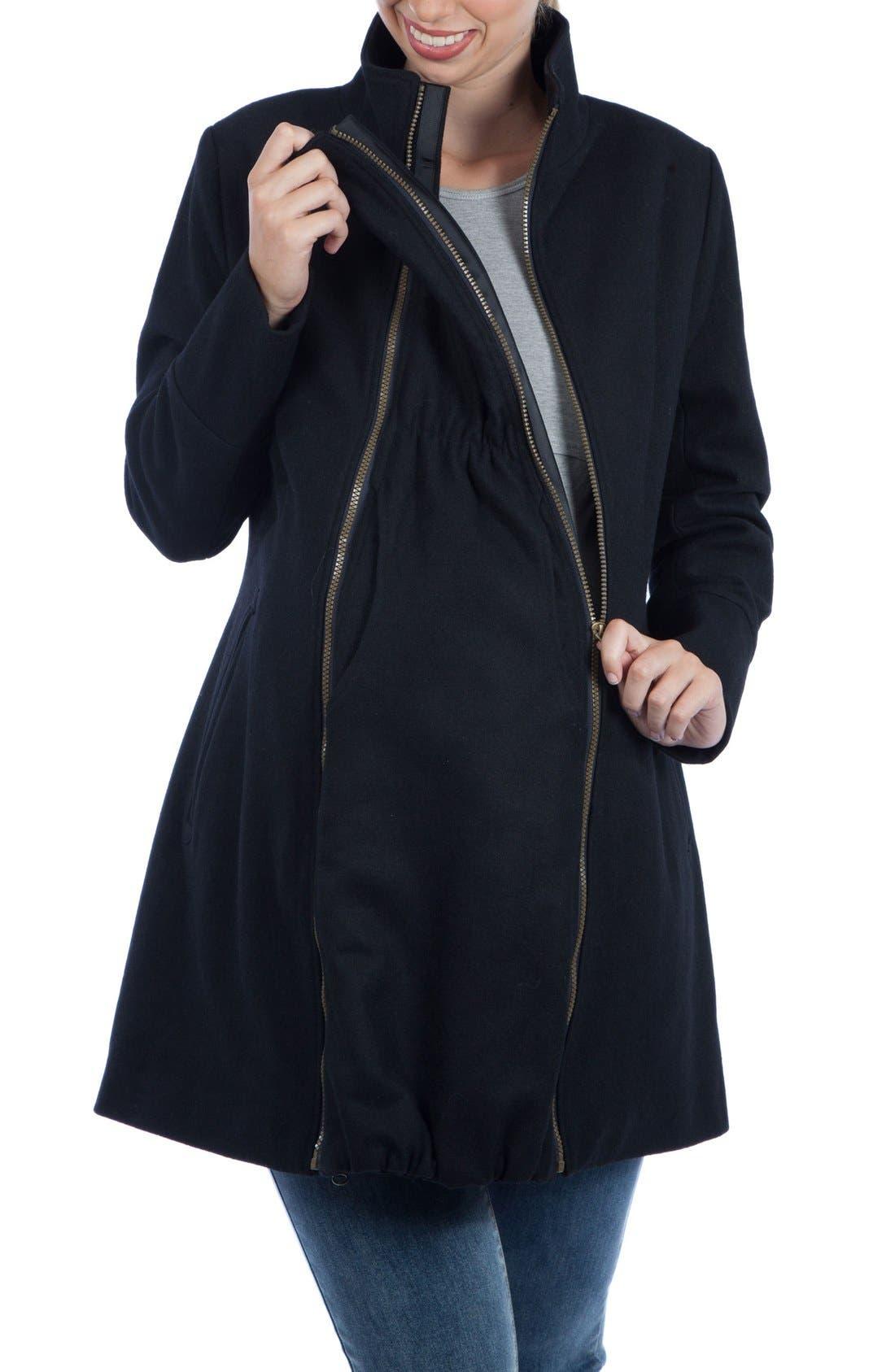 Convertible 3-in-1 Maternity/Nursing Coat,                             Alternate thumbnail 9, color,                             BLACK