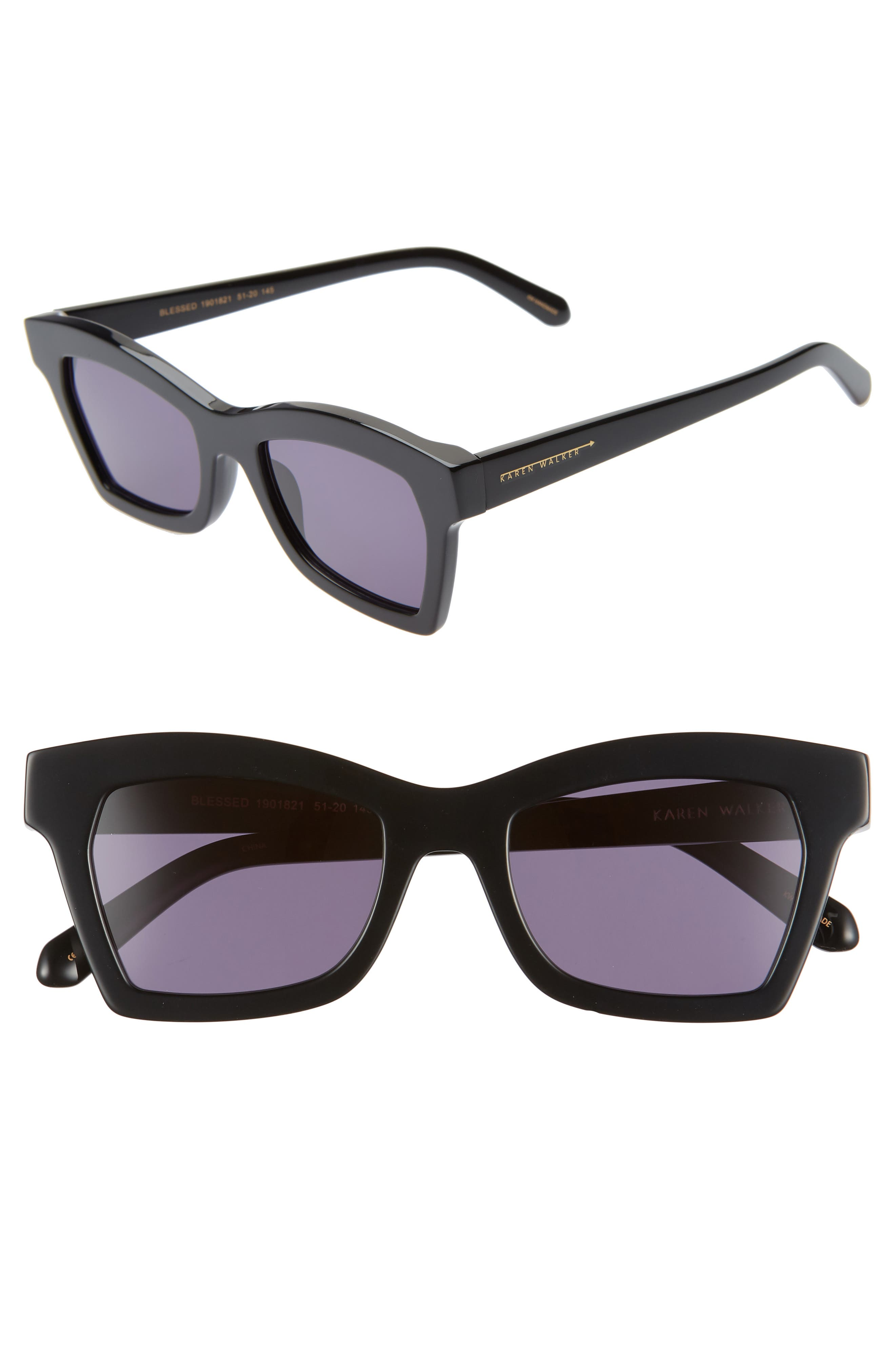 Karen Walker BLESSED 51MM SQUARE SUNGLASSES - BLACK/ SMOKE