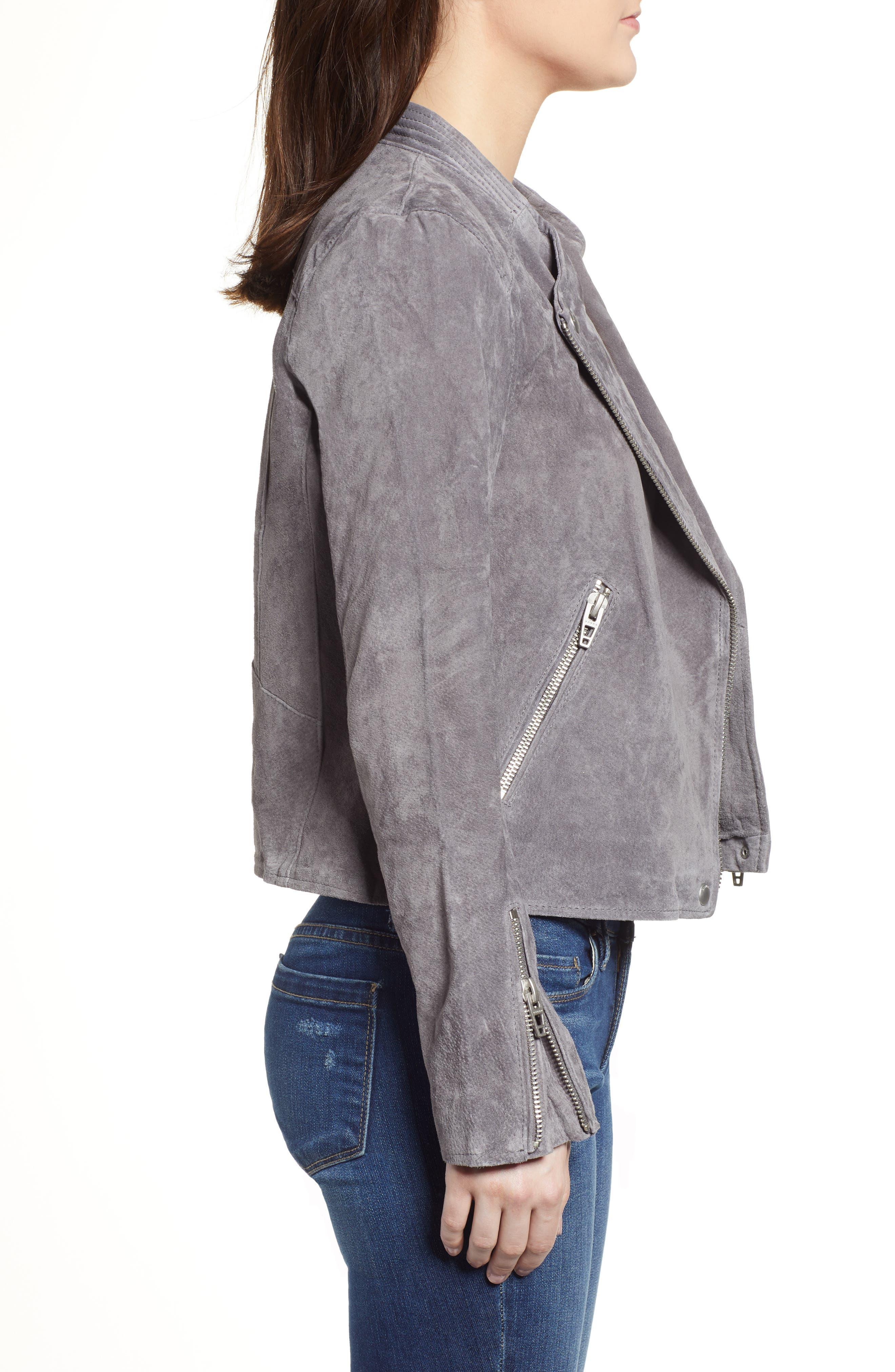 BLANKNYC,                             No Limit Suede Moto Jacket,                             Alternate thumbnail 3, color,                             SILVERSCREEN