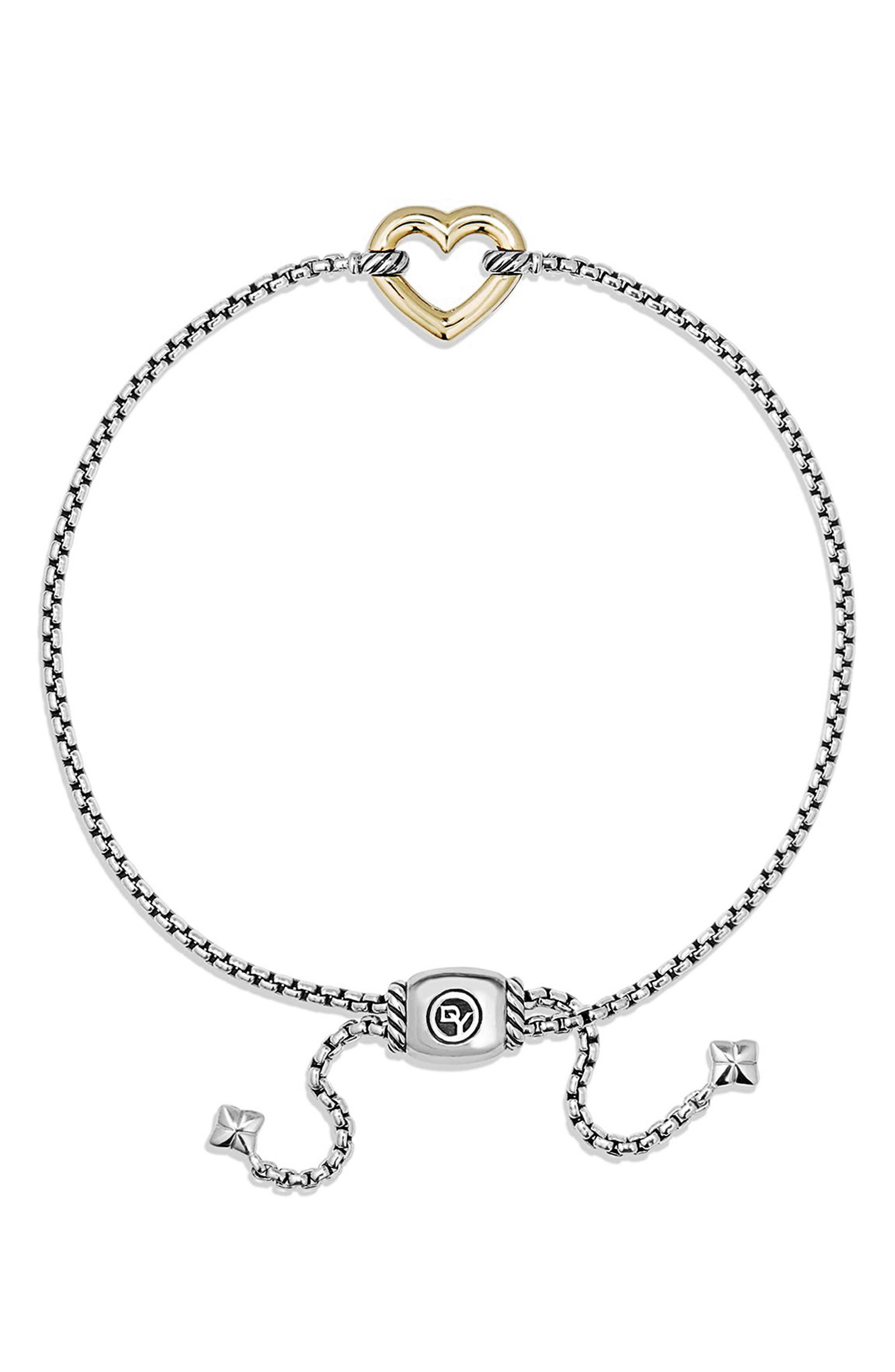 'Cable Collectibles' Heart Station Bracelet with 18K Gold,                             Alternate thumbnail 2, color,                             SILVER/ GOLD