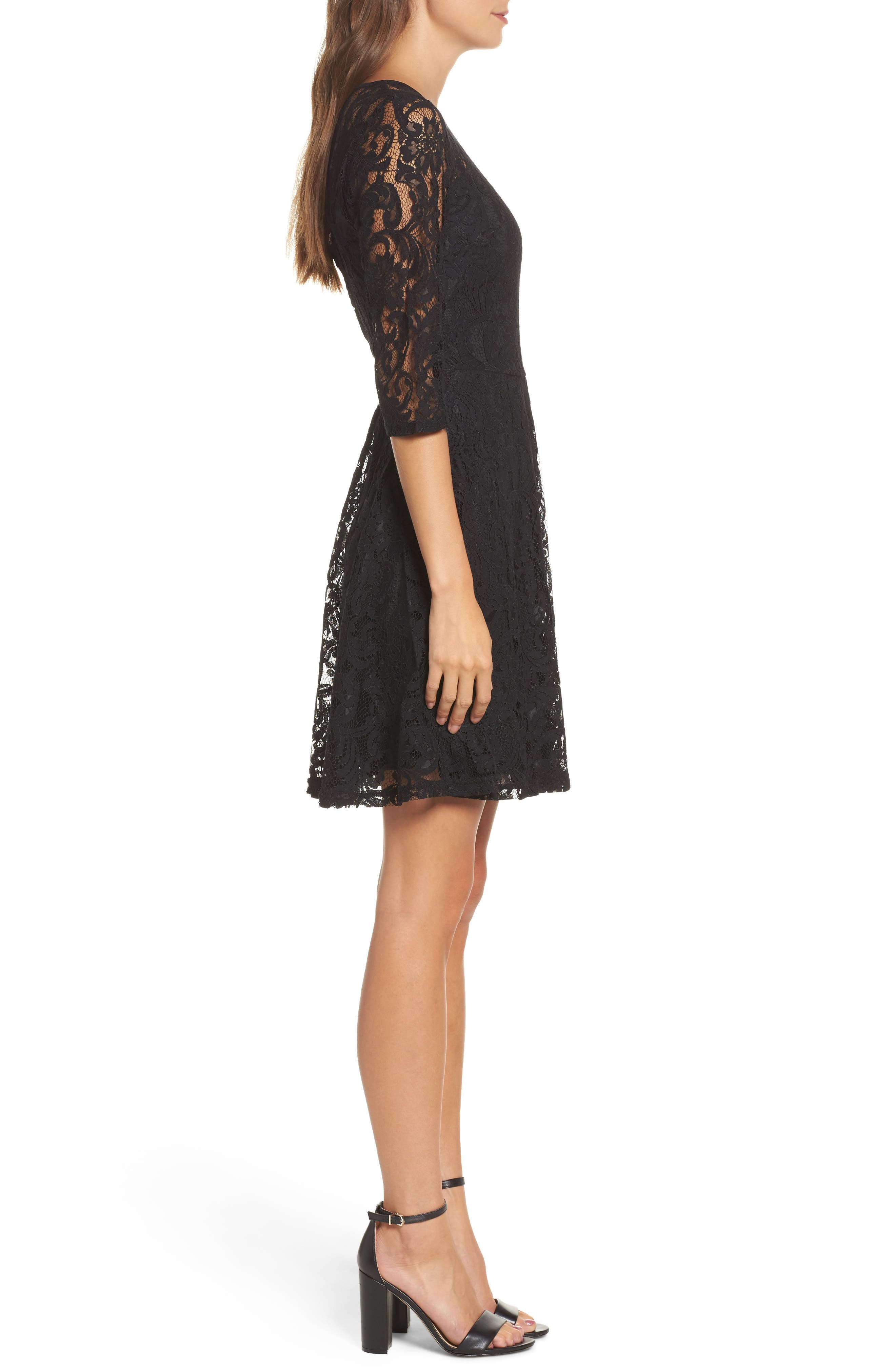 Lace Fit & Flare Dress,                             Alternate thumbnail 3, color,                             001