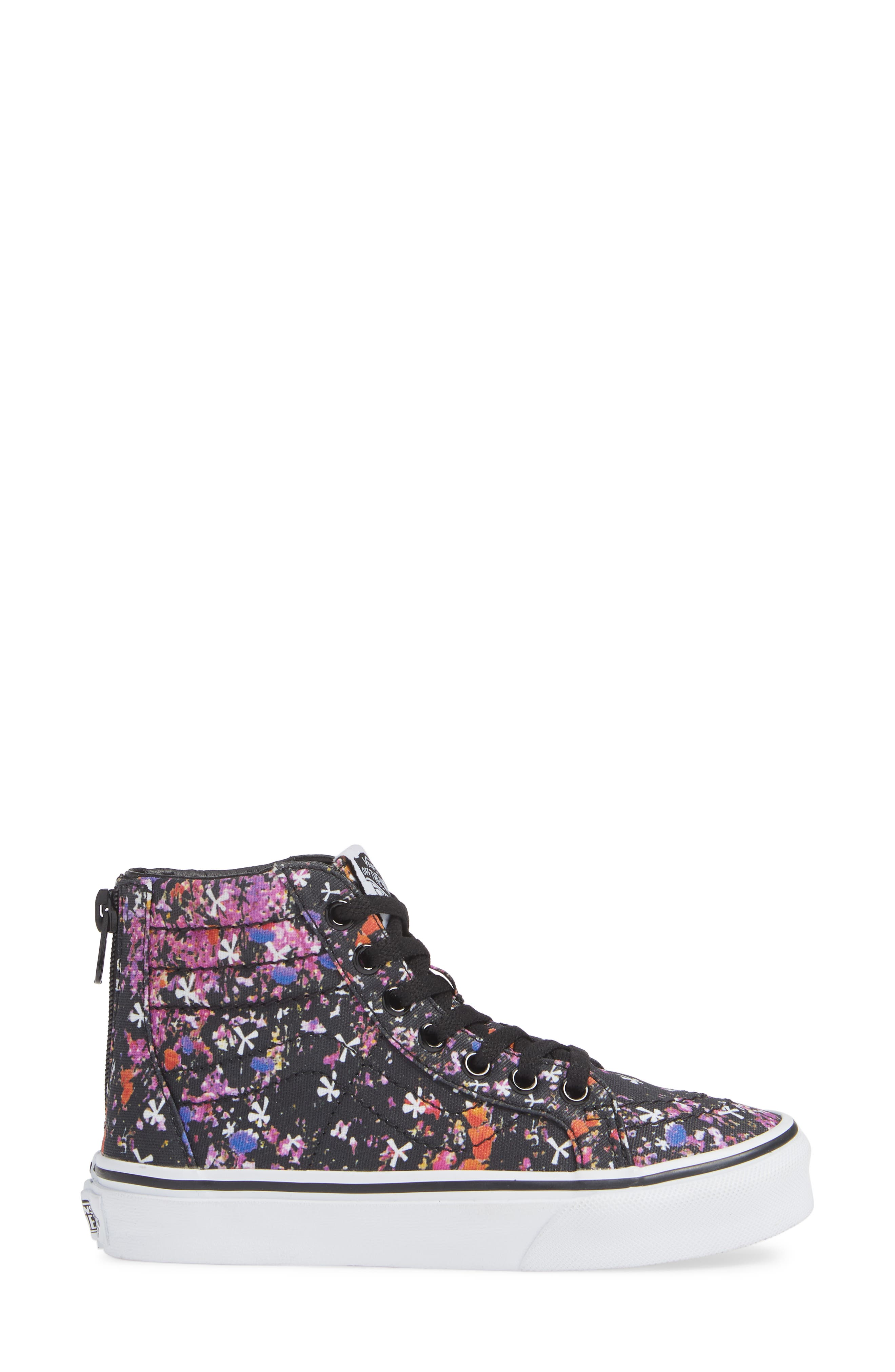 Sk8-Hi Zip Sneaker,                             Alternate thumbnail 3, color,                             BLACK/ TRUE WHITE