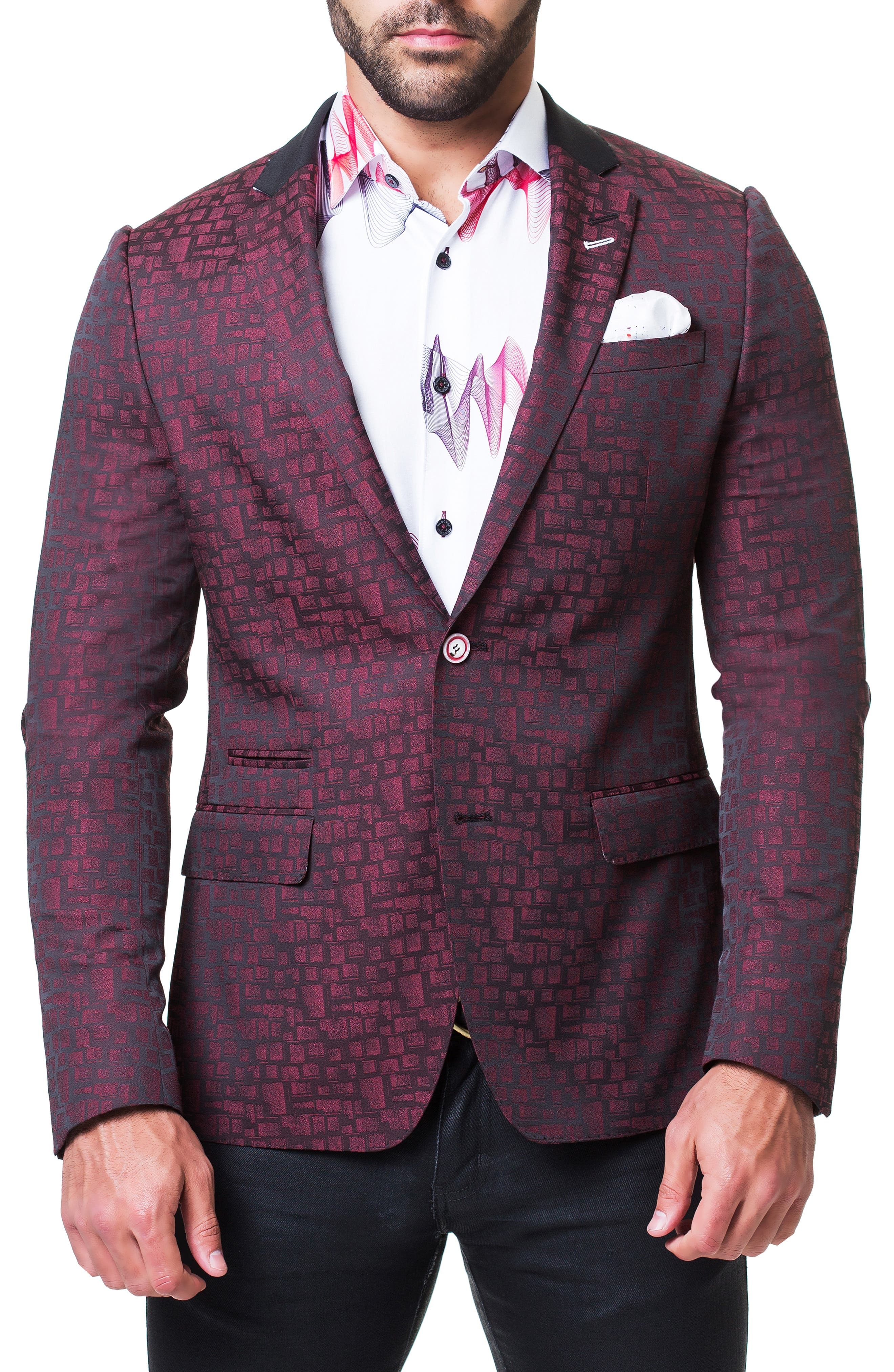 Socrate Square Sport Coat,                             Main thumbnail 1, color,                             RED